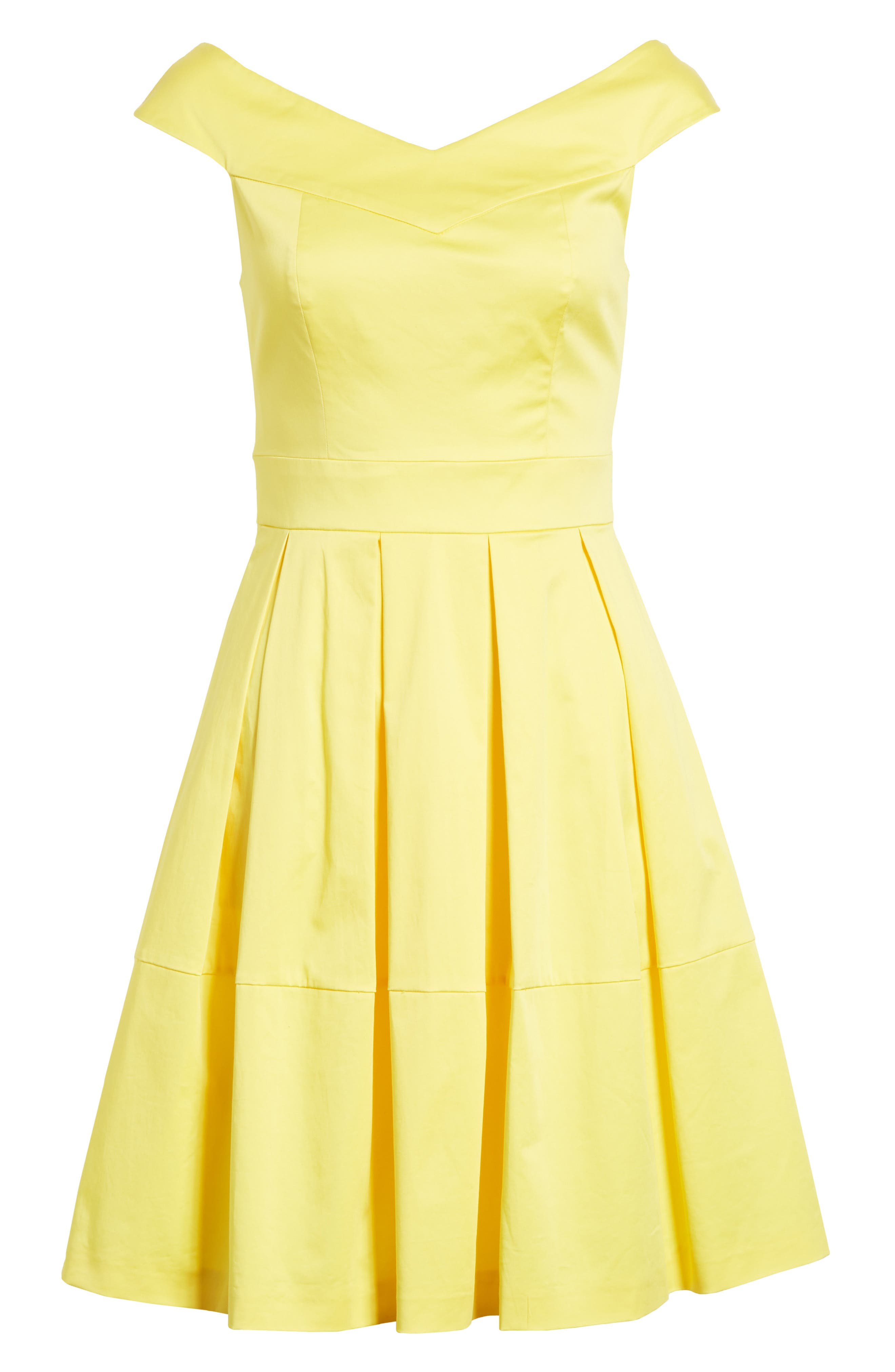 Jullee Off the Shoulder Stretch Cotton Dress,                             Alternate thumbnail 6, color,                             Yellow
