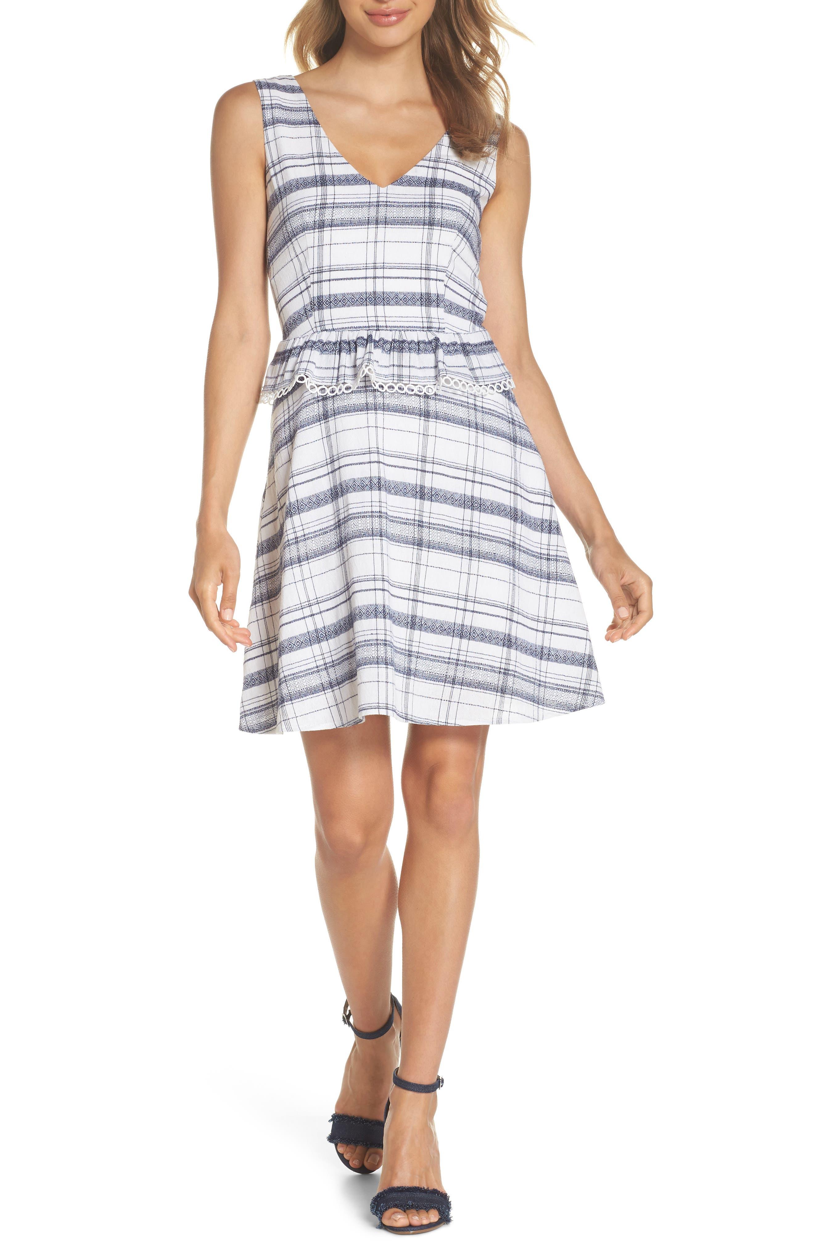 Aubrey Plaid Fit & Flare Dress,                             Main thumbnail 1, color,                             Multi