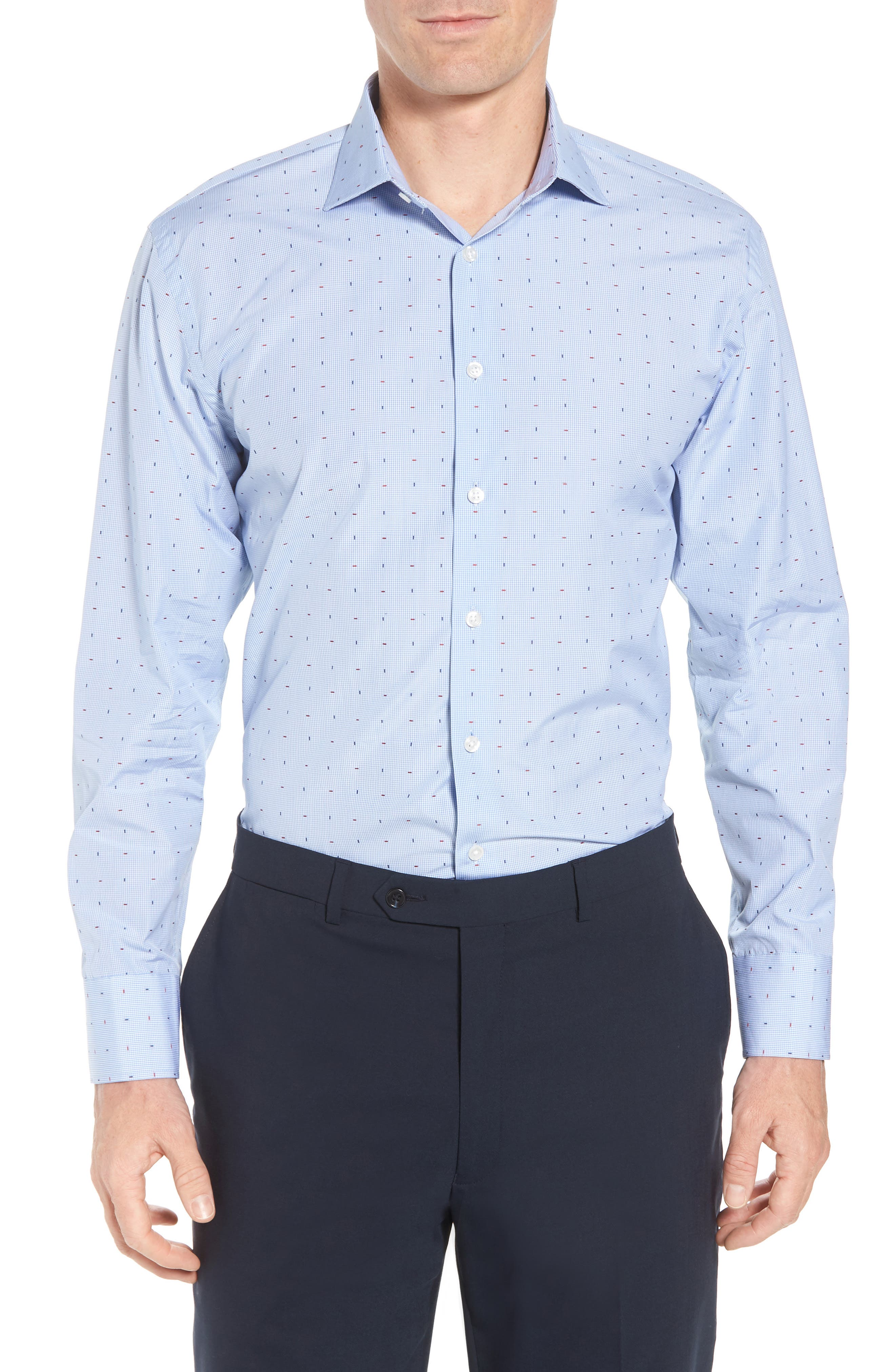 Traditional Fit Check Dress Shirt,                         Main,                         color, Blue Bel Air