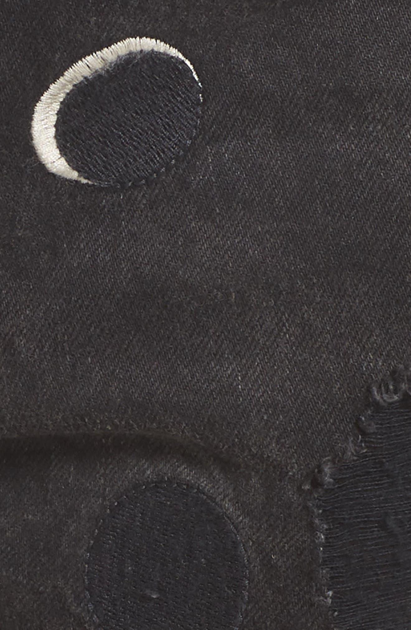 Seasonal Festival Embroidered Denim Shorts,                             Alternate thumbnail 5, color,                             2241 Long Night Moon