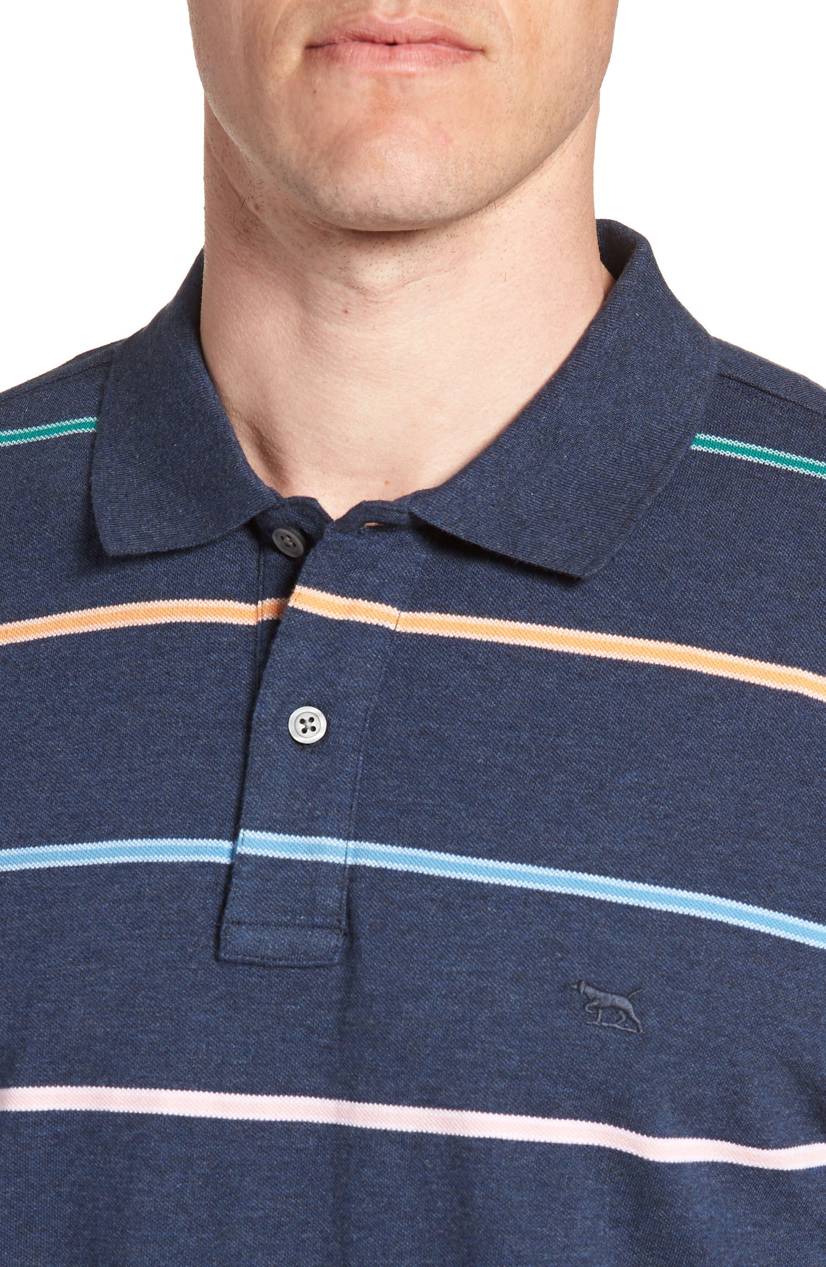 Caberfield Regular Fit Stripe Polo,                             Alternate thumbnail 4, color,                             Ocean