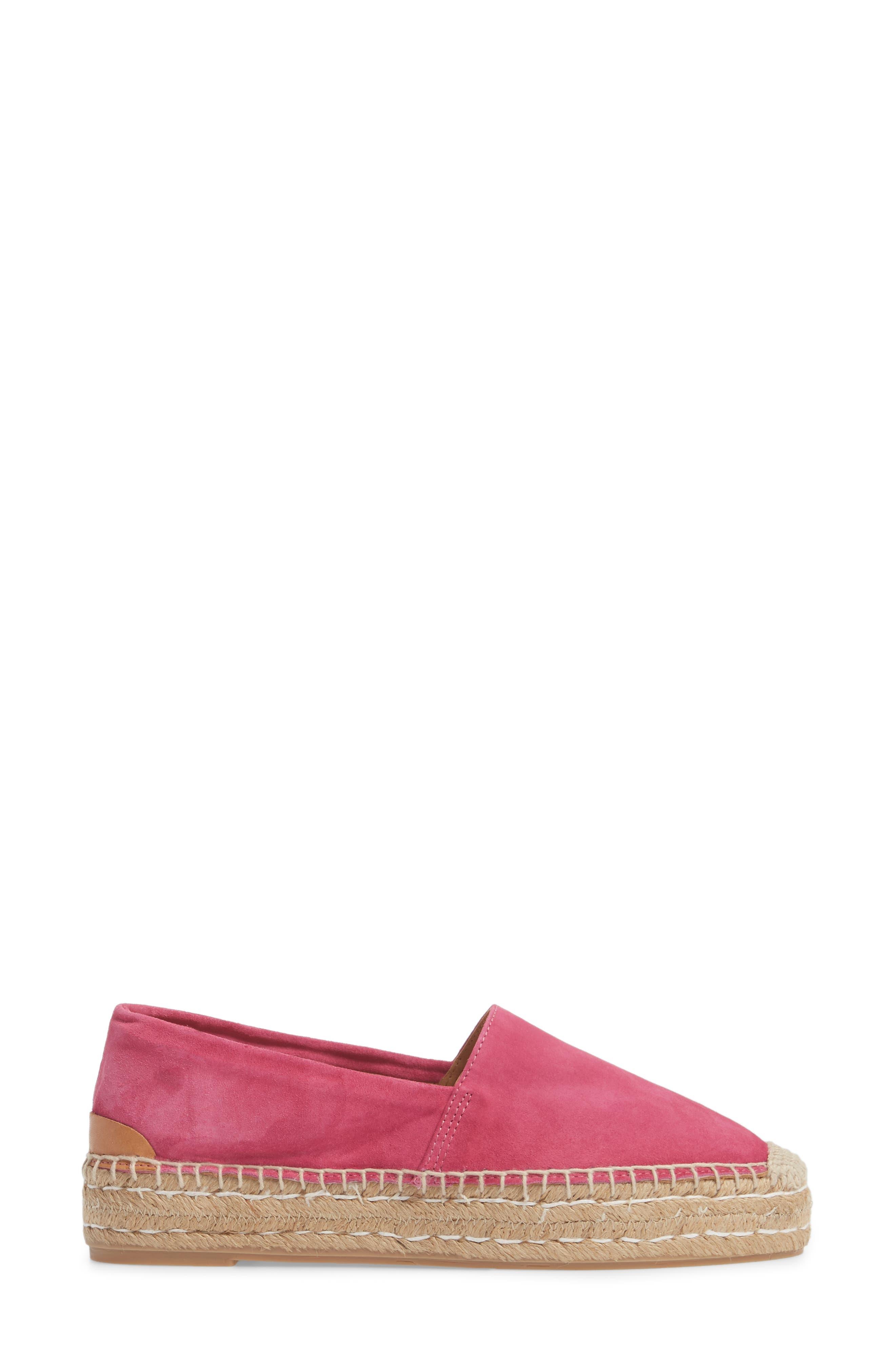 Abigail Espadrille Slip-On,                             Alternate thumbnail 3, color,                             Hot Pink Suede