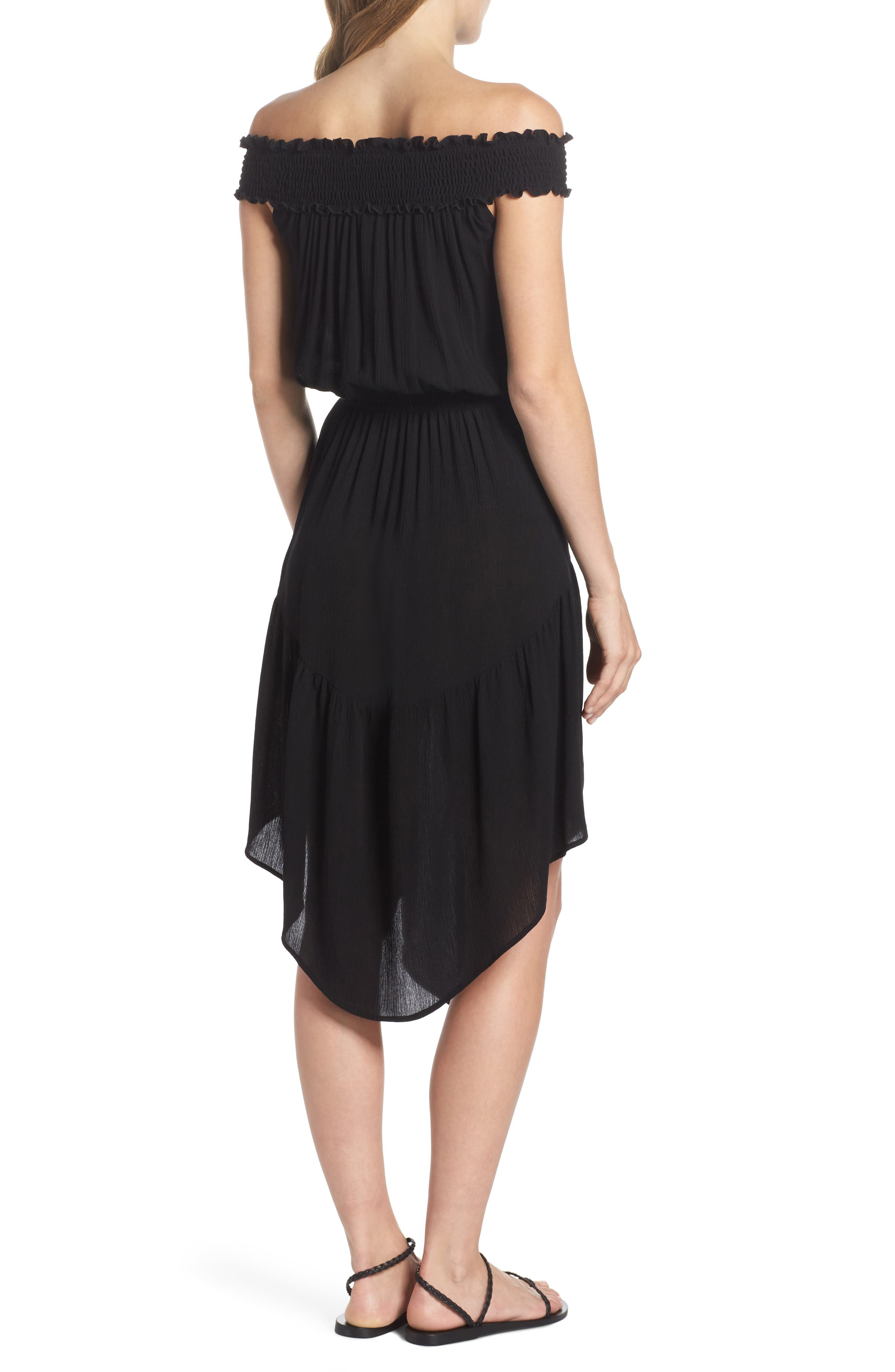 Summer Breeze Off the Shoulder Cover-Up Dress,                             Alternate thumbnail 2, color,                             Black