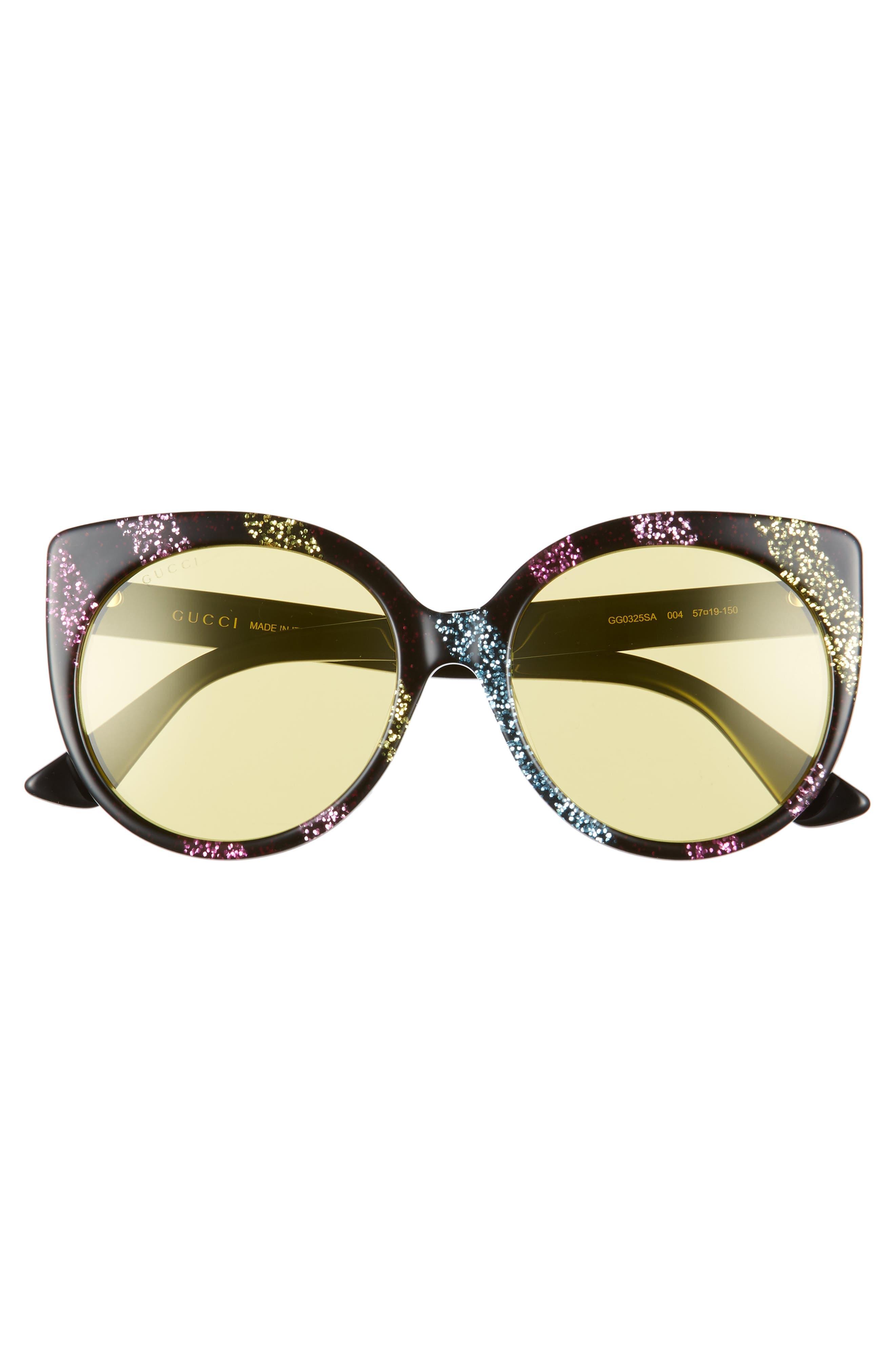 57mm Cat Eye Sunglasses,                             Alternate thumbnail 3, color,                             Pink/ Multicolor
