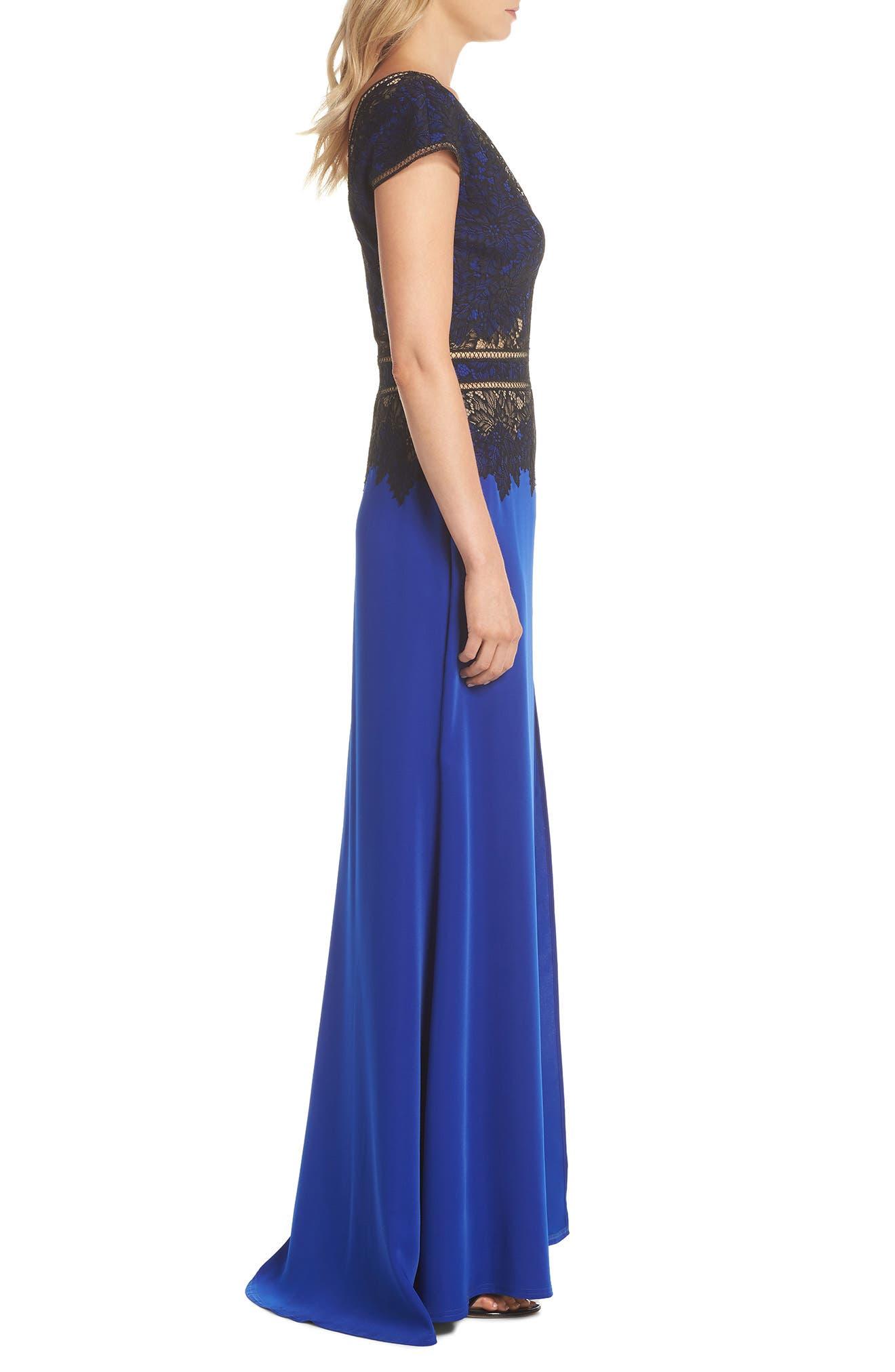 Violette Lace & Crepe Gown,                             Alternate thumbnail 3, color,                             Black Lake