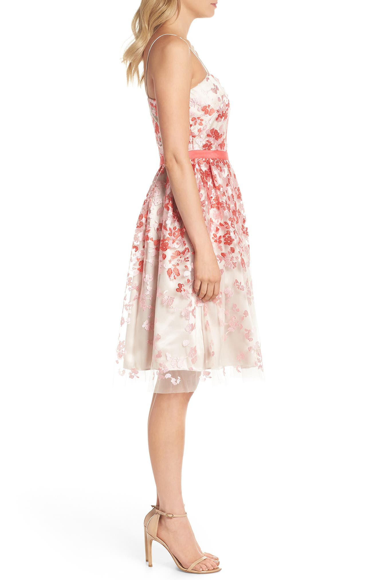 Embroidered Fit & Flare Cocktail Dress,                             Alternate thumbnail 3, color,                             Pink Multi