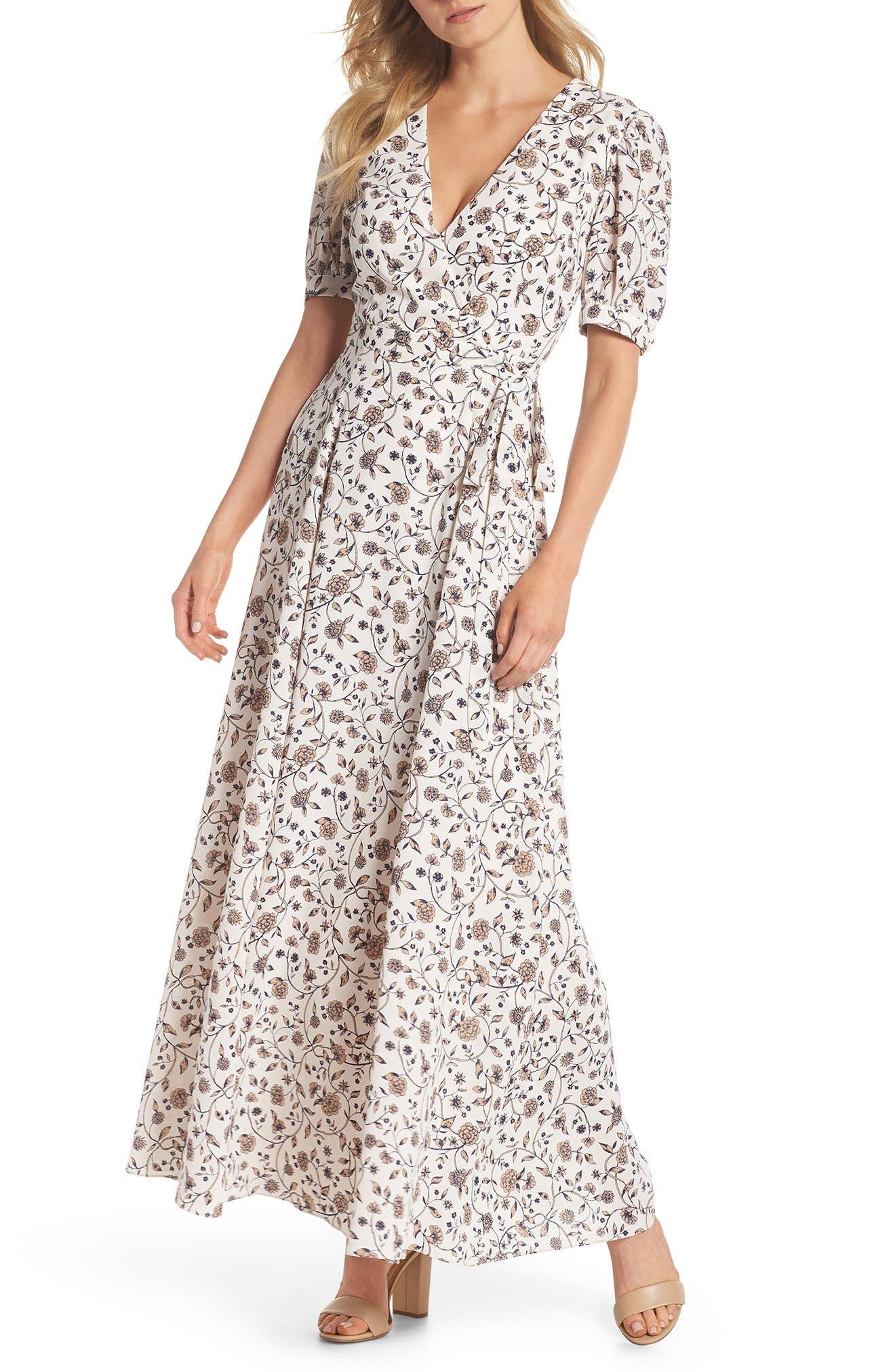 Millie Floral Faux Wrap Maxi Dress,                         Main,                         color, Bisque/ Tan