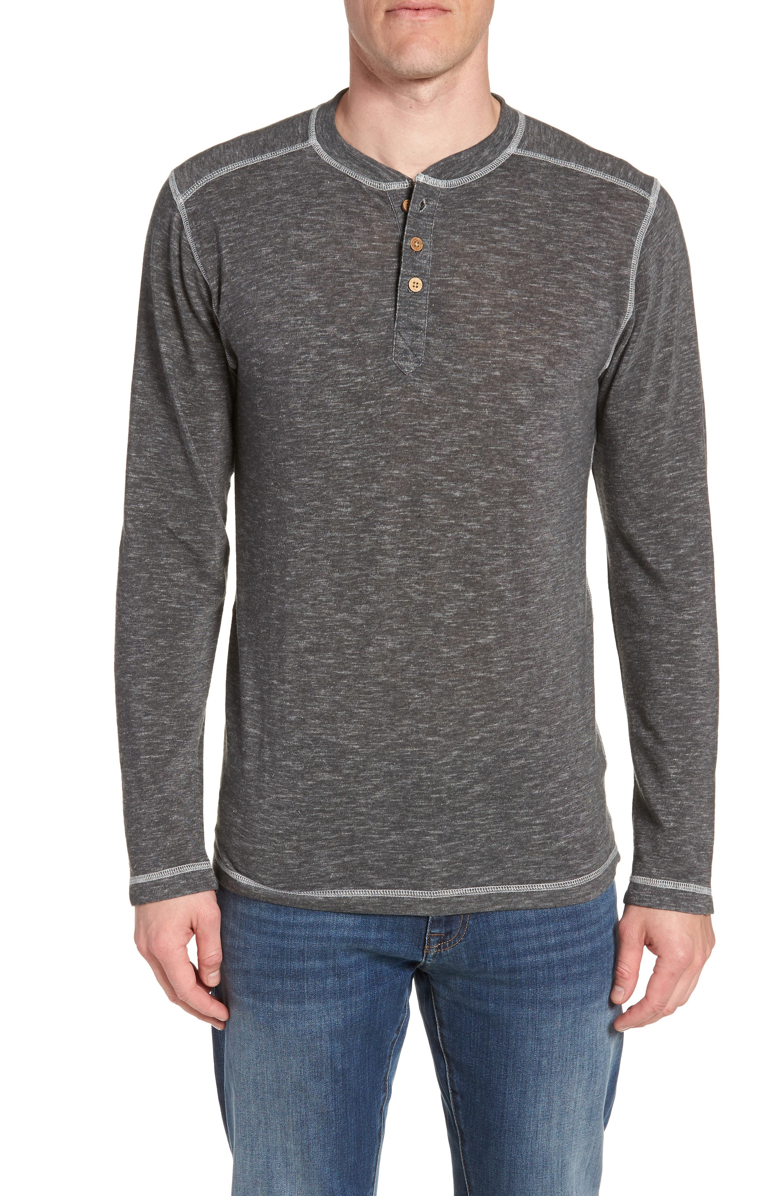 VINTAGE 1946 Space Dyed Long Sleeve Henley in Charcoal