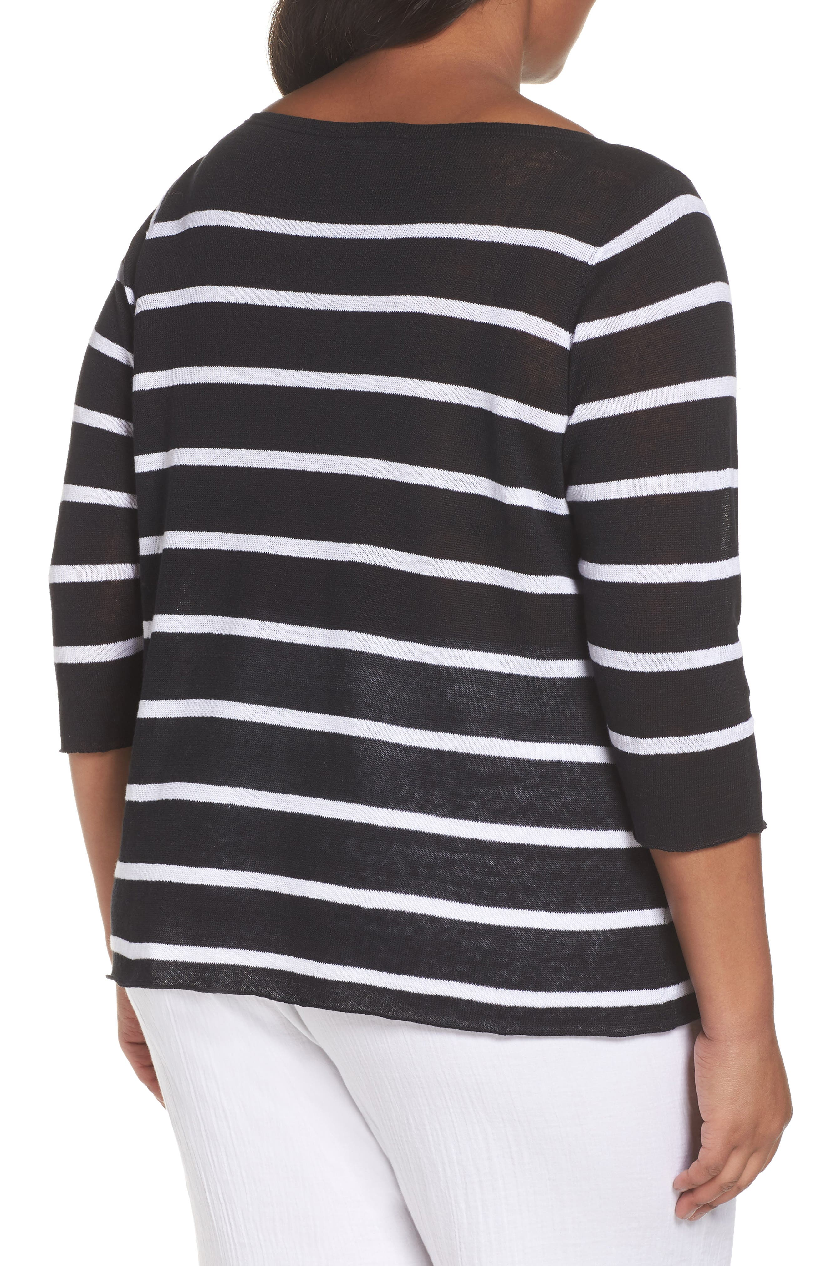 Bateau Neck Stripe Linen Top,                             Alternate thumbnail 2, color,                             Black/ White