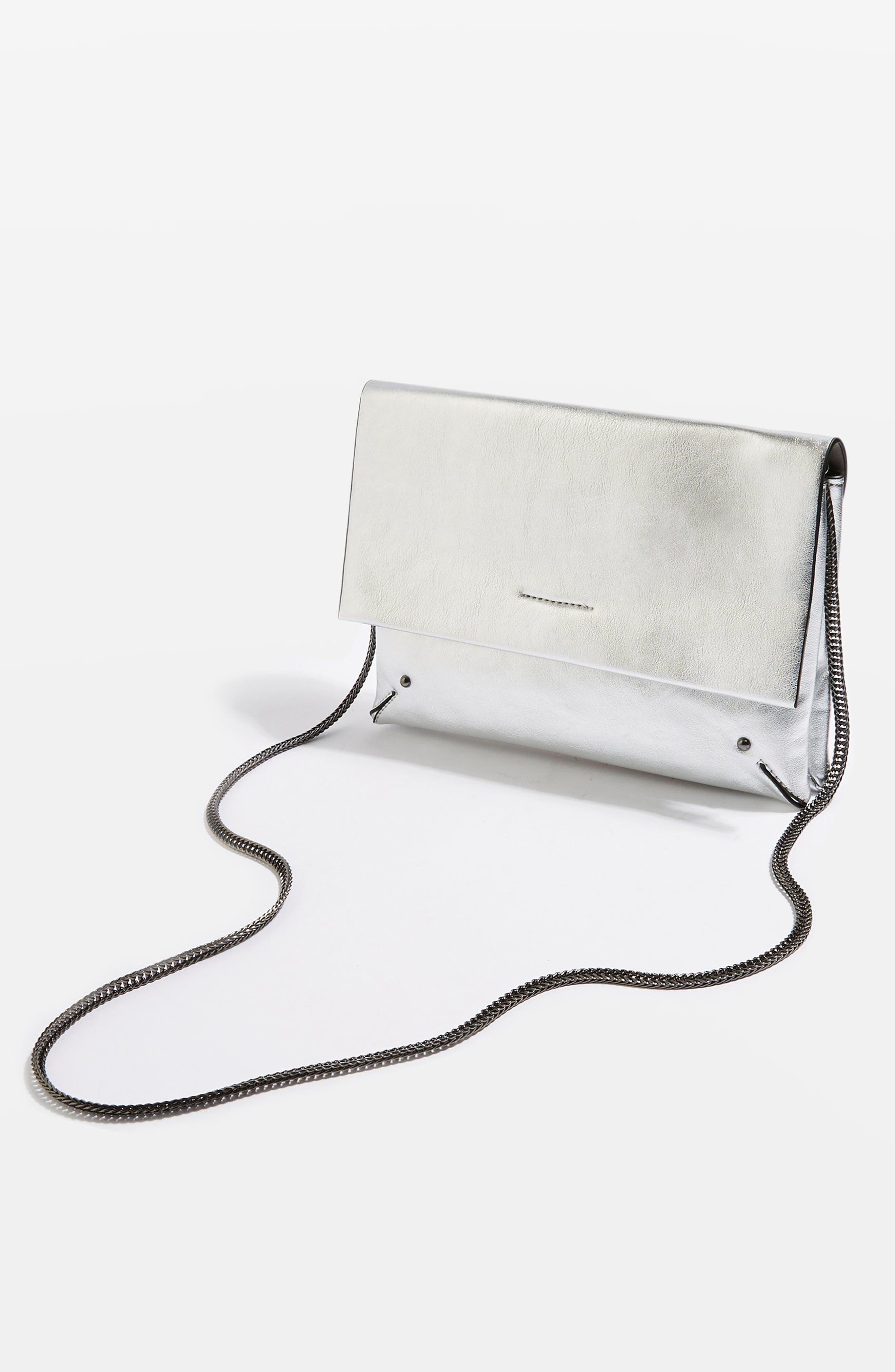 Leila Clutch Bag,                             Alternate thumbnail 2, color,                             Silver