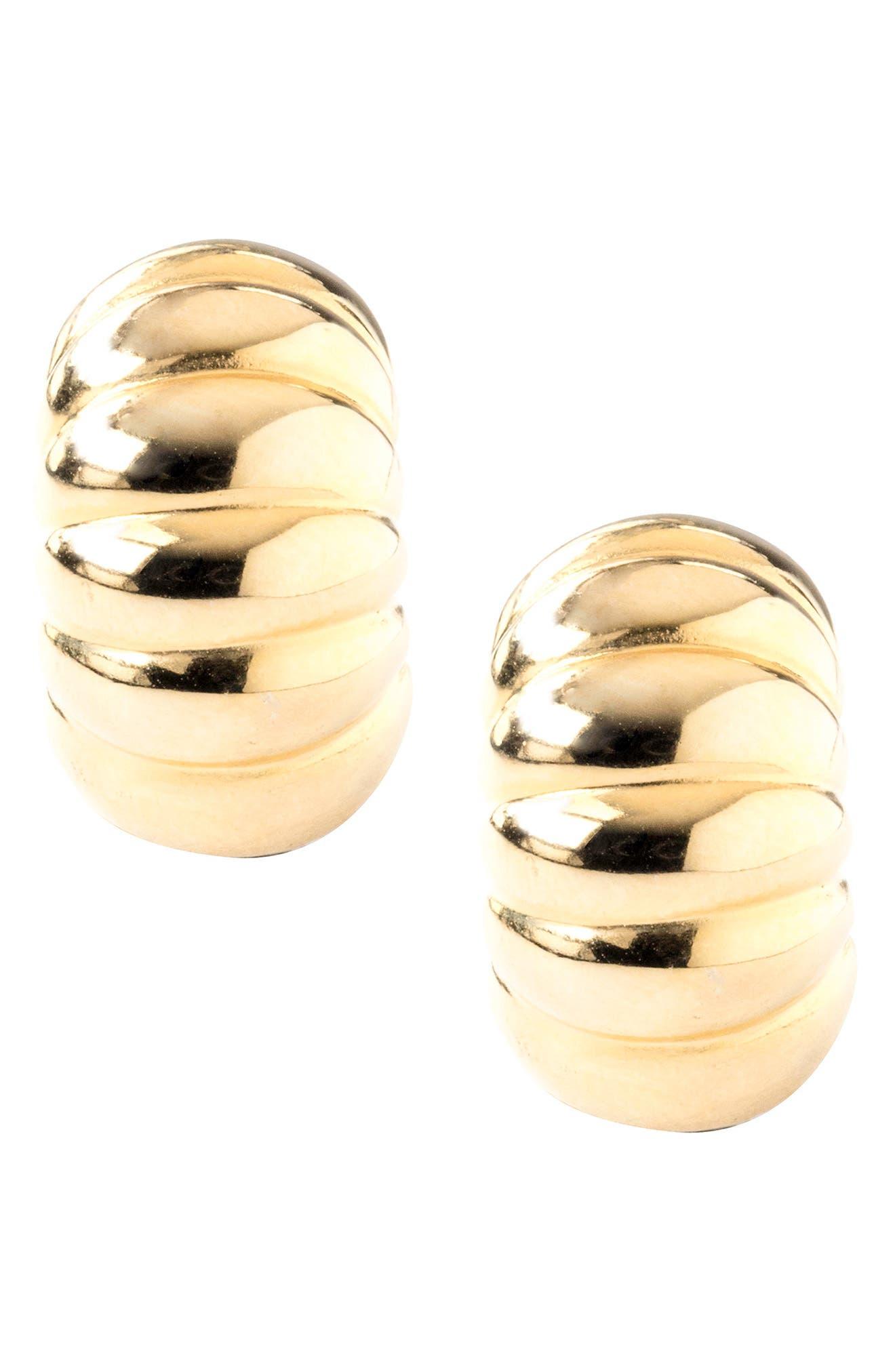 Two-Tone Shrimp Hug Earrings,                         Main,                         color, Silver/ Gold