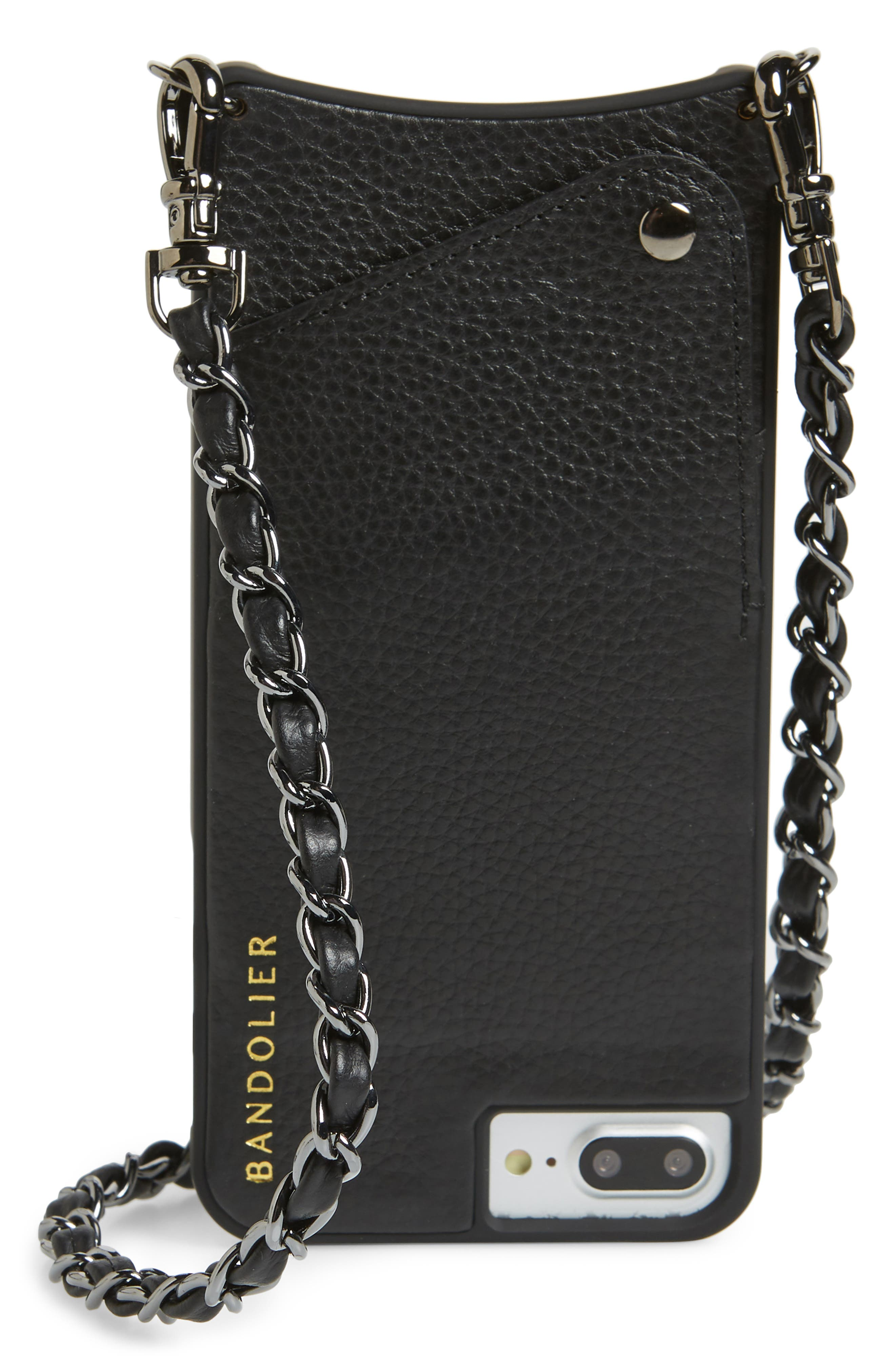 Lucy Leather iPhone 7/8 & 7/8 Plus Crossbody Case,                             Main thumbnail 1, color,                             Black/ Pewter