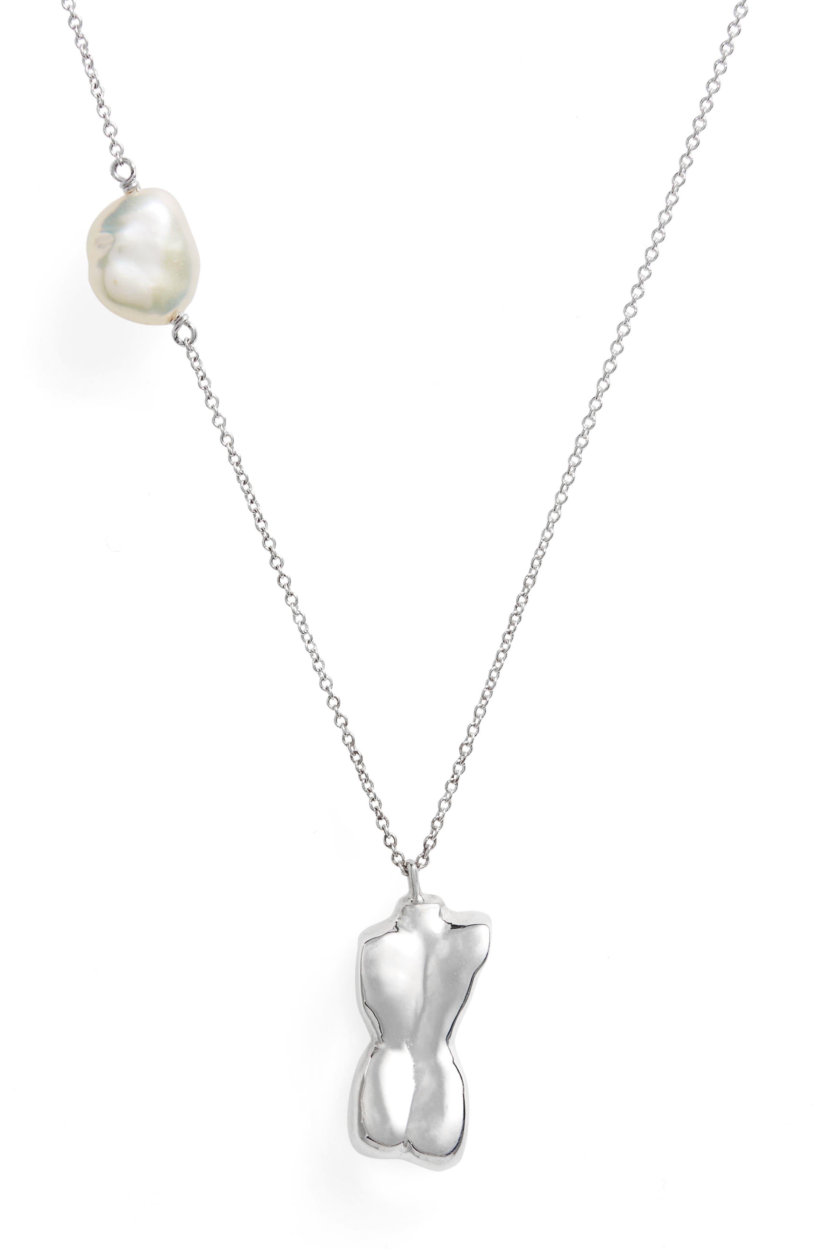 Bod Pendant Necklace,                             Main thumbnail 1, color,                             Sterling Silver/ White Keshi