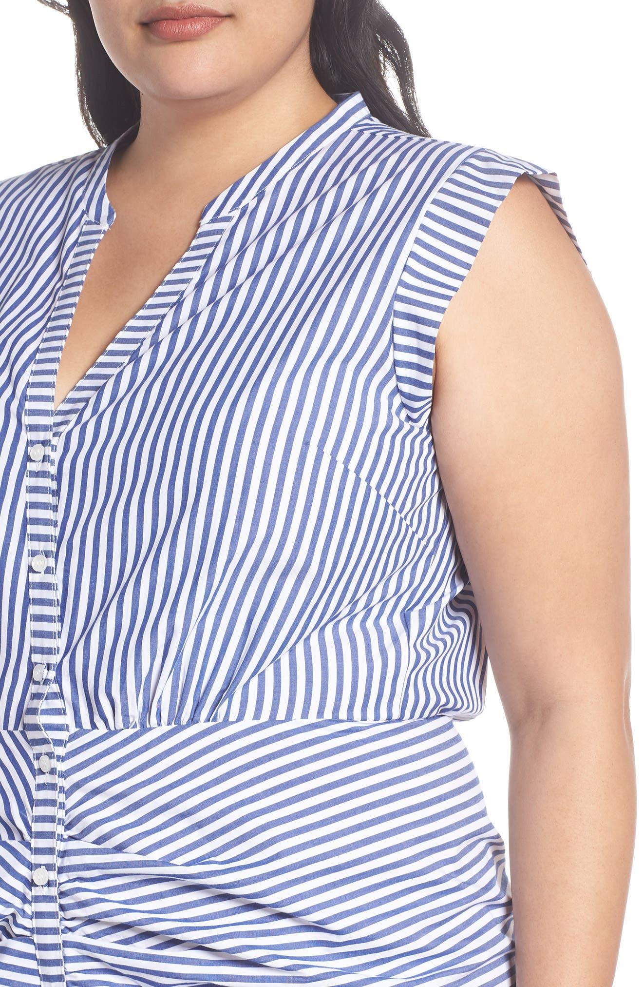 Stripe Ruched Cotton Shirtdress,                             Alternate thumbnail 7, color,                             Blue White Stripe
