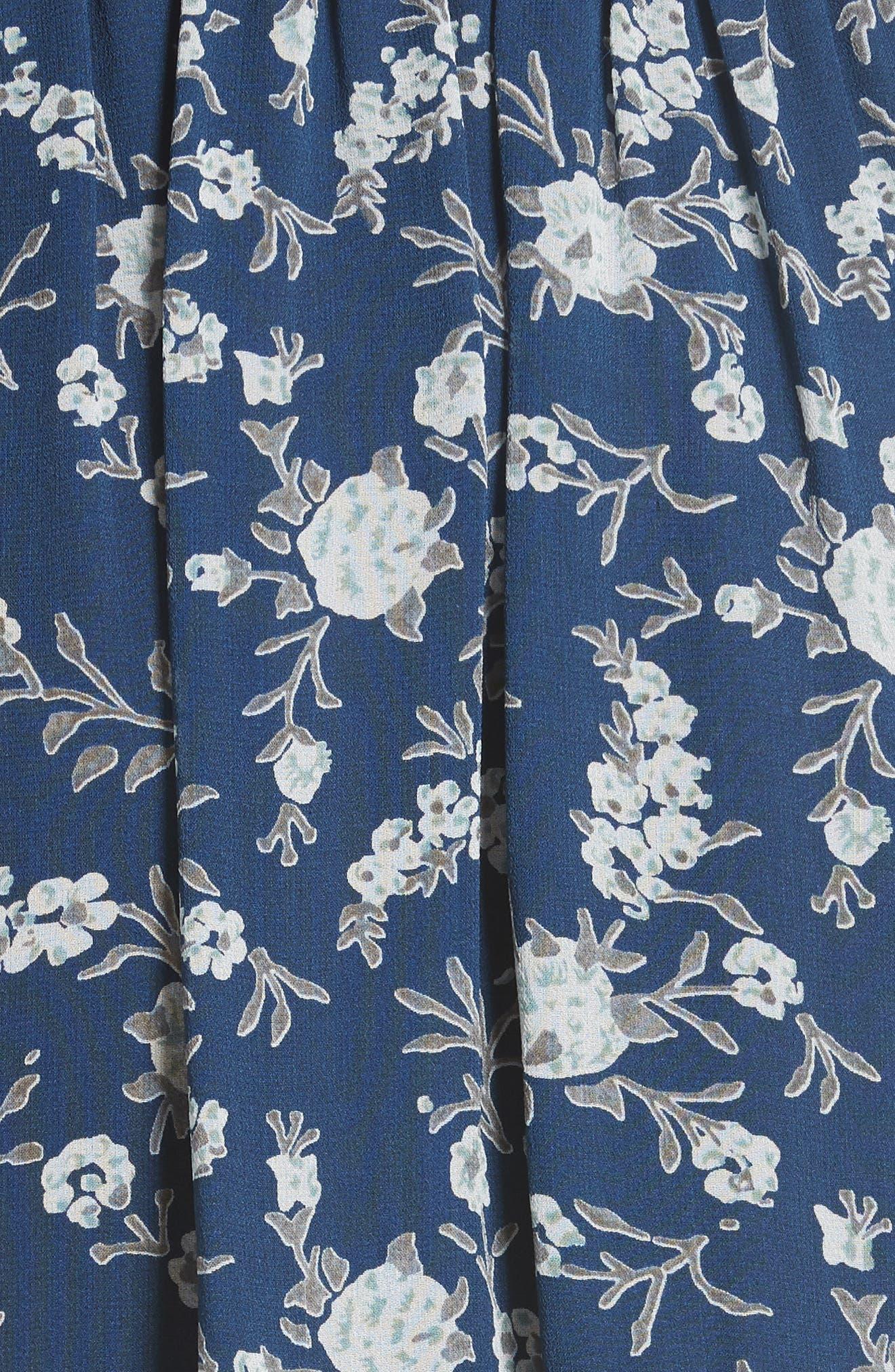 Alissa Silk Dress,                             Alternate thumbnail 5, color,                             Azure