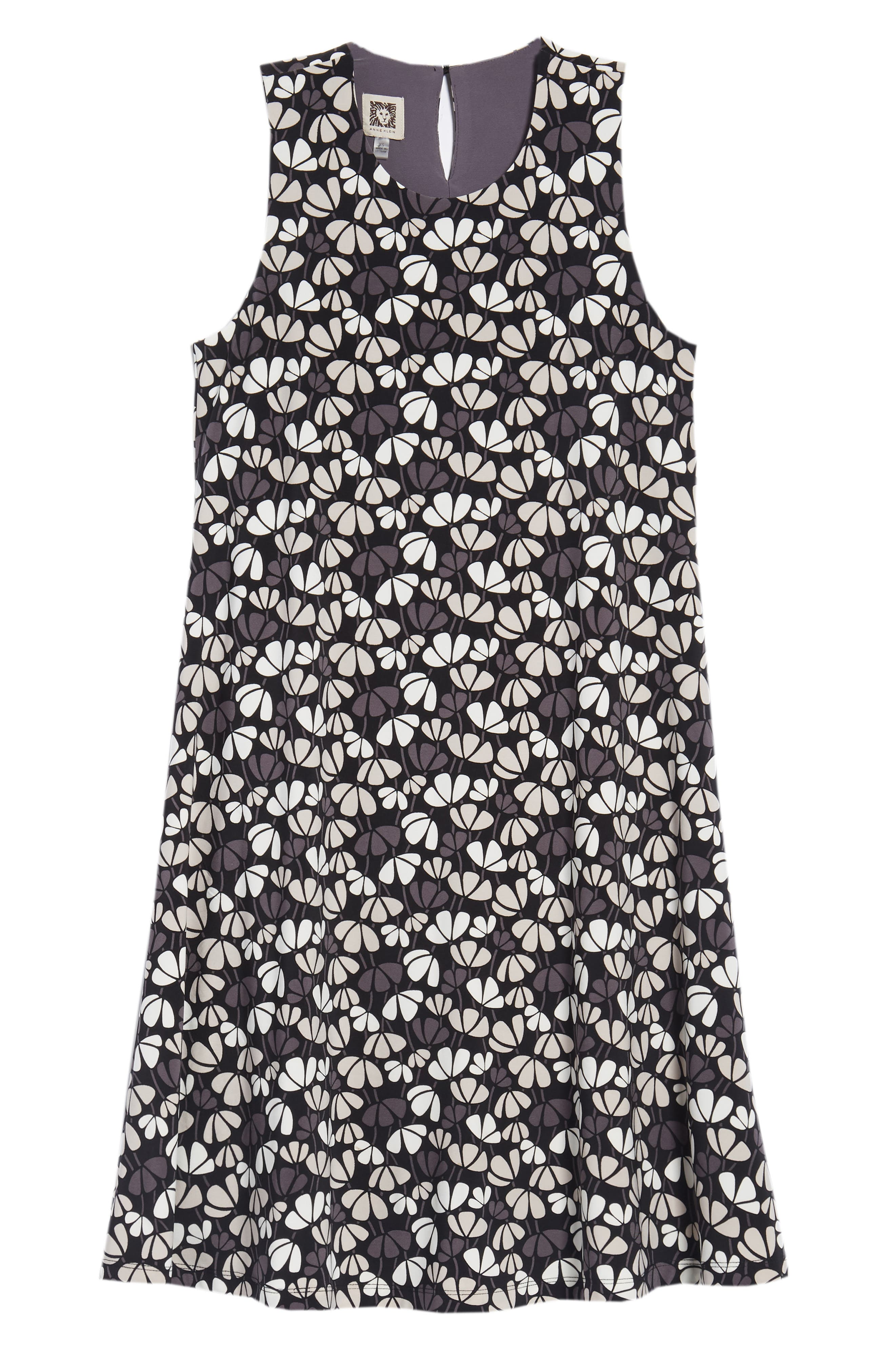 Flowerfall Stretch Knit Swing Dress,                             Alternate thumbnail 7, color,                             Black/ Oyster Shell Combo