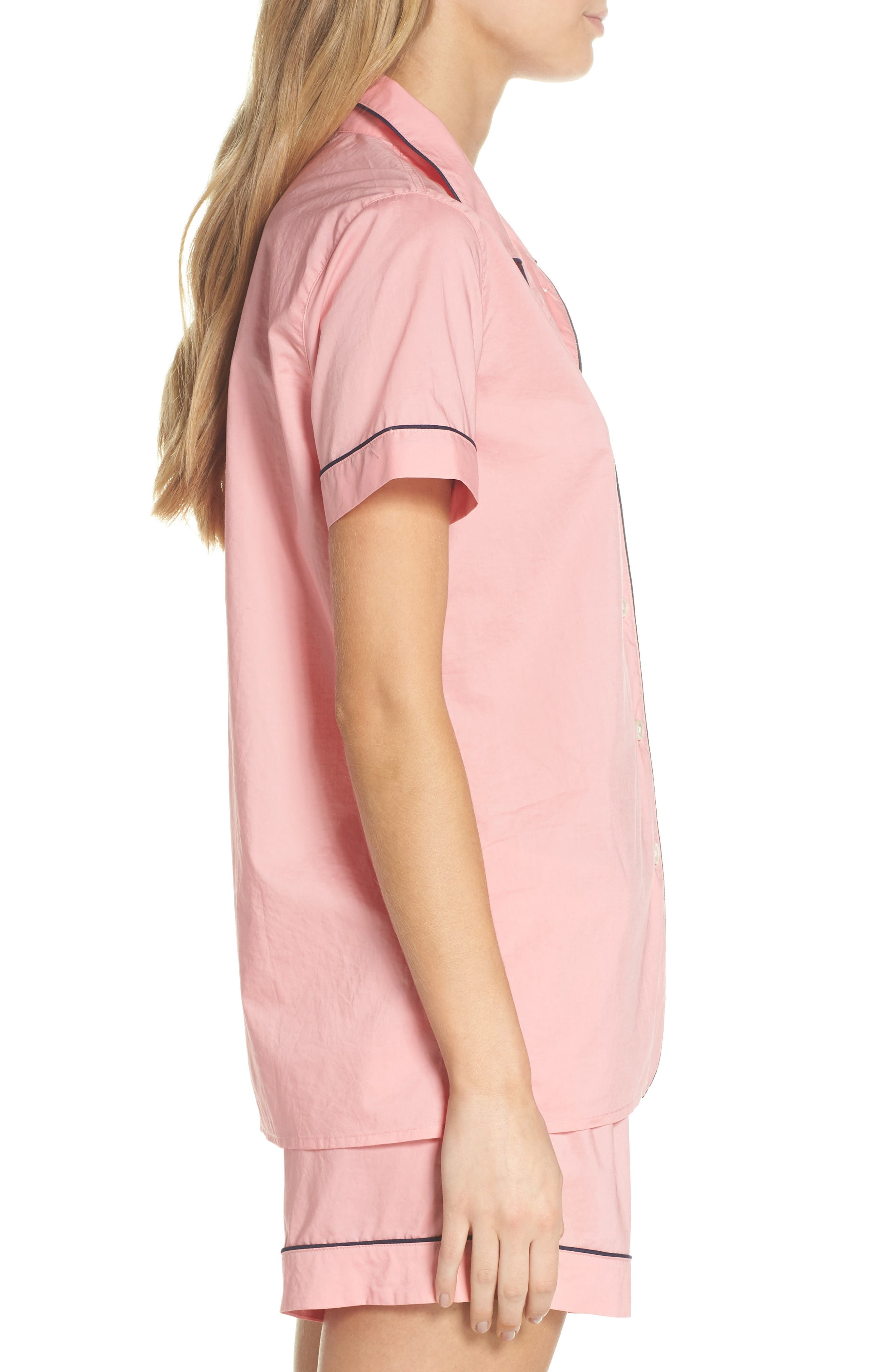 Tipped Short Pajamas,                             Alternate thumbnail 3, color,                             Cool Pink