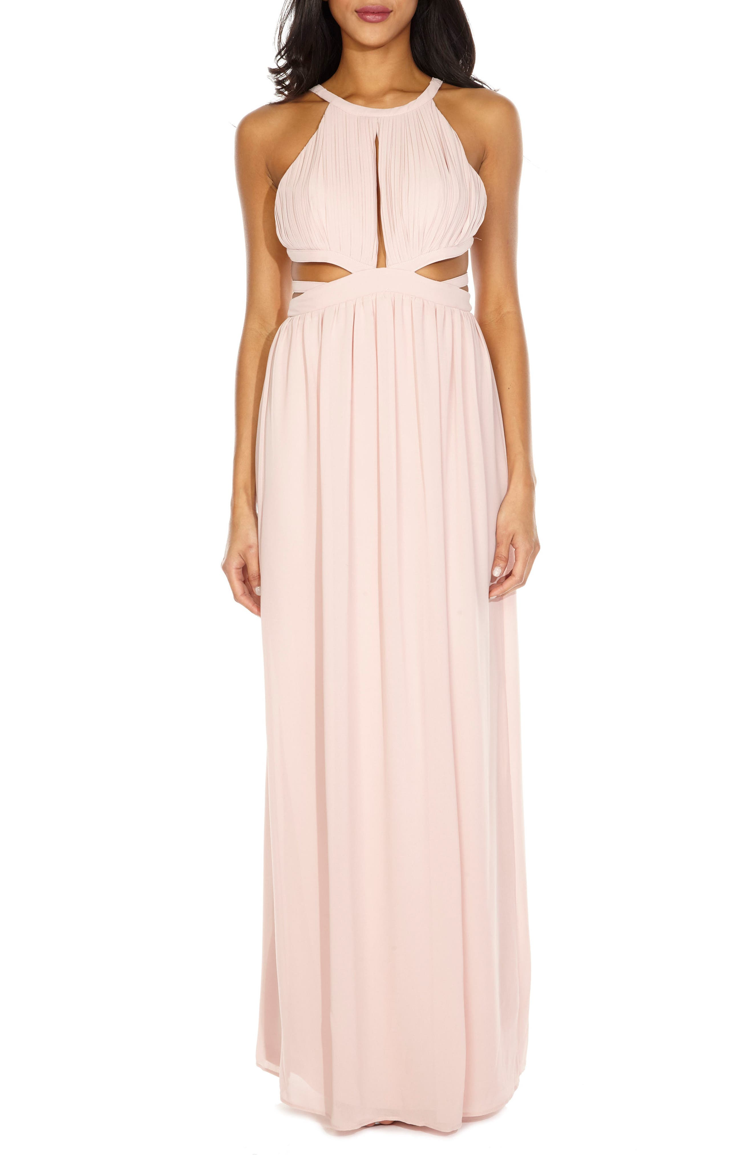 Evanthe Cutout Chiffon Gown,                             Main thumbnail 1, color,                             Pearl Pink