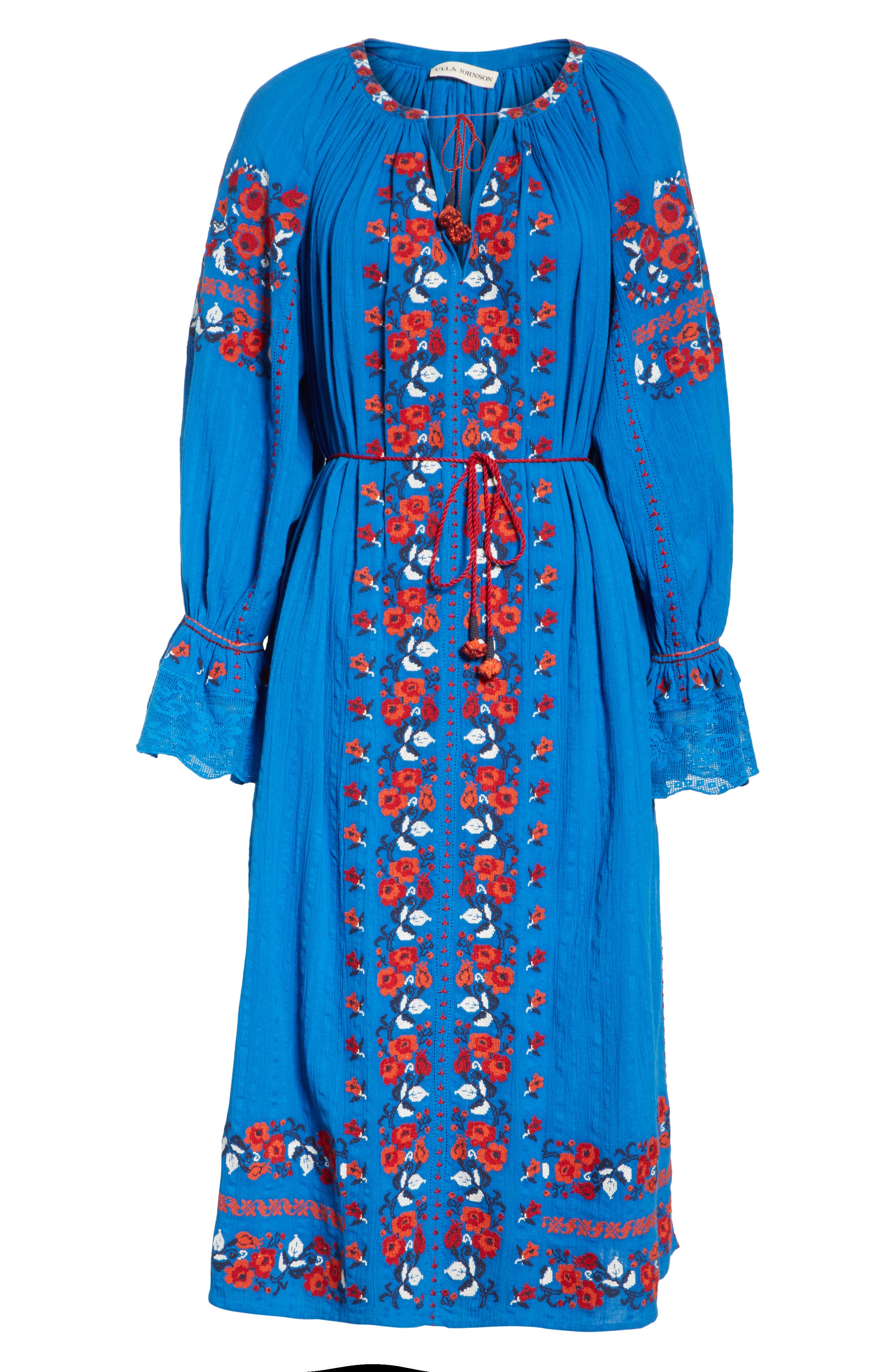 Filia Embroidered Midi Dress,                             Alternate thumbnail 6, color,                             Cobalt