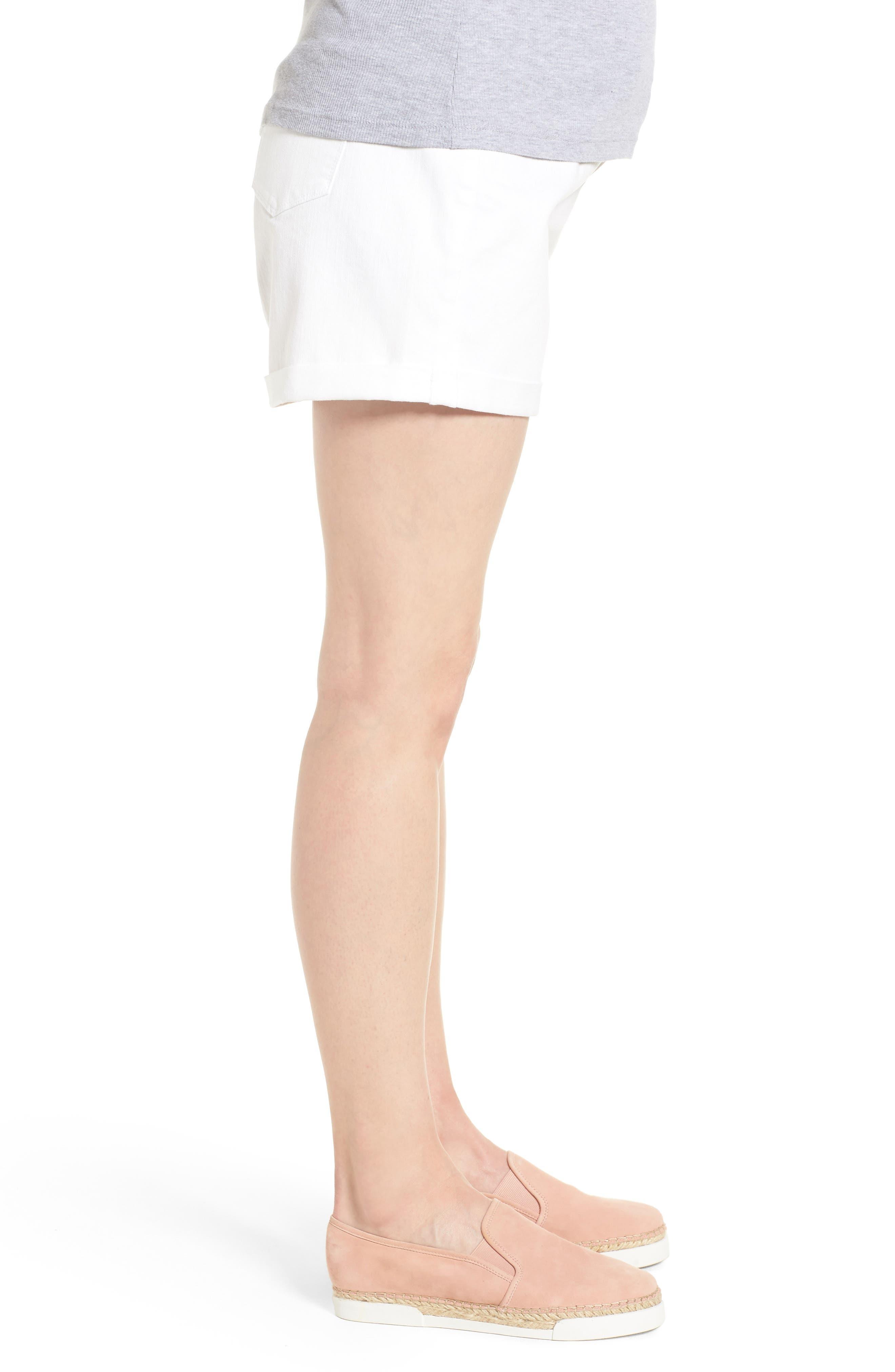Mia Maternity Boyfriend Shorts,                             Alternate thumbnail 3, color,                             White