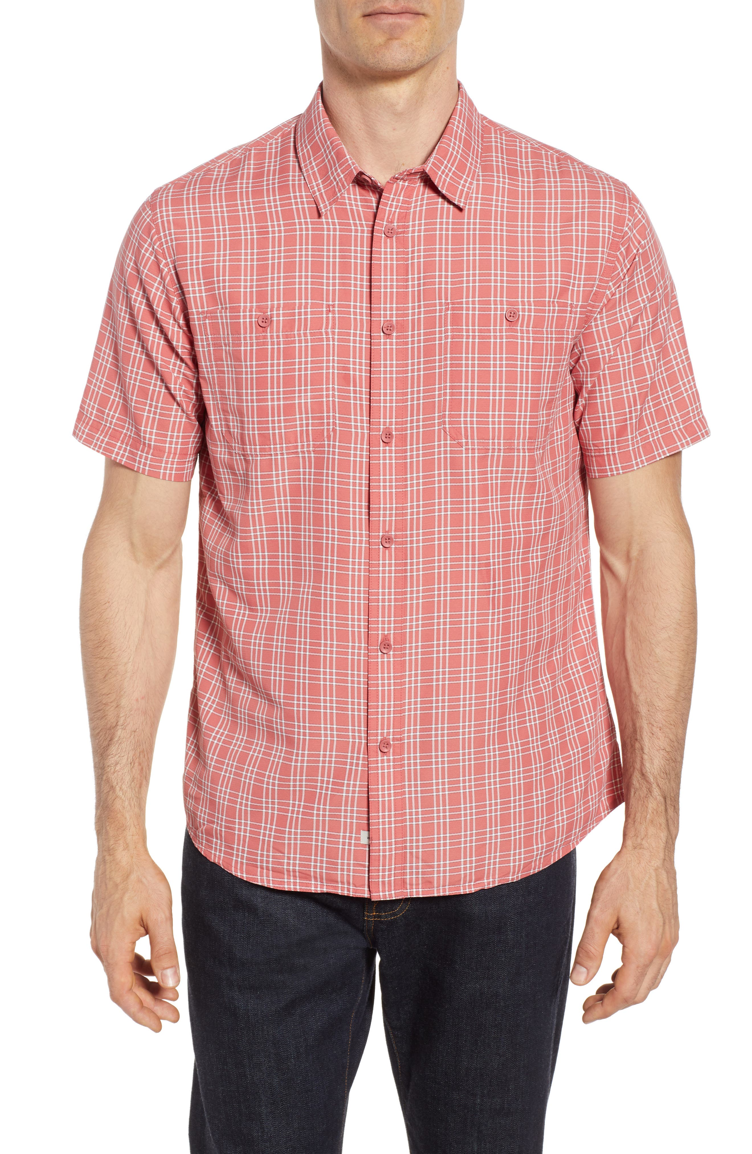 Wake Plaid Regular Fit Performance Sport Shirt,                         Main,                         color, Mineral Red
