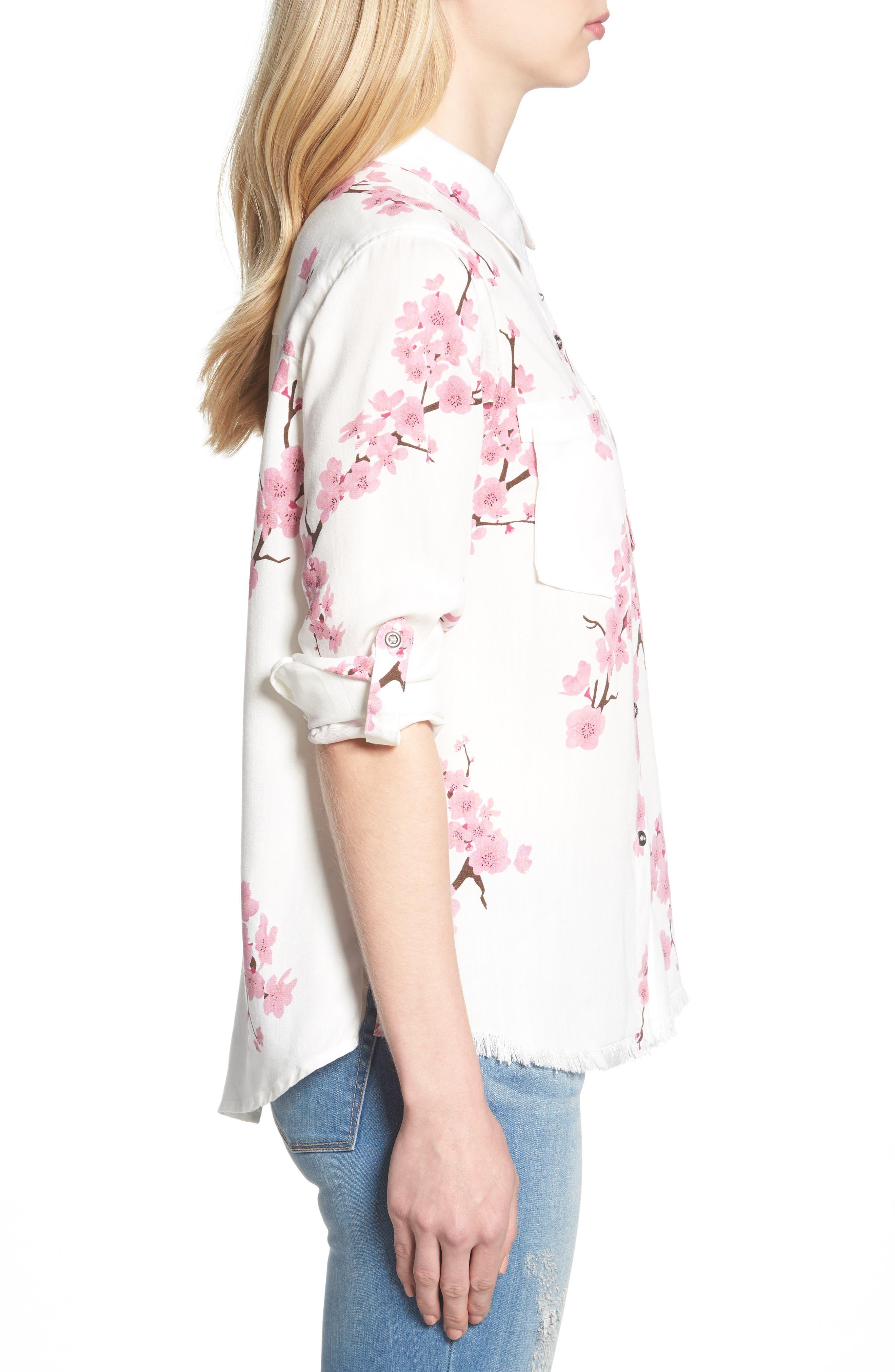 Cherry Blossom Roll Tab Sleeve Shirt,                             Alternate thumbnail 3, color,                             White Cherry Blossom