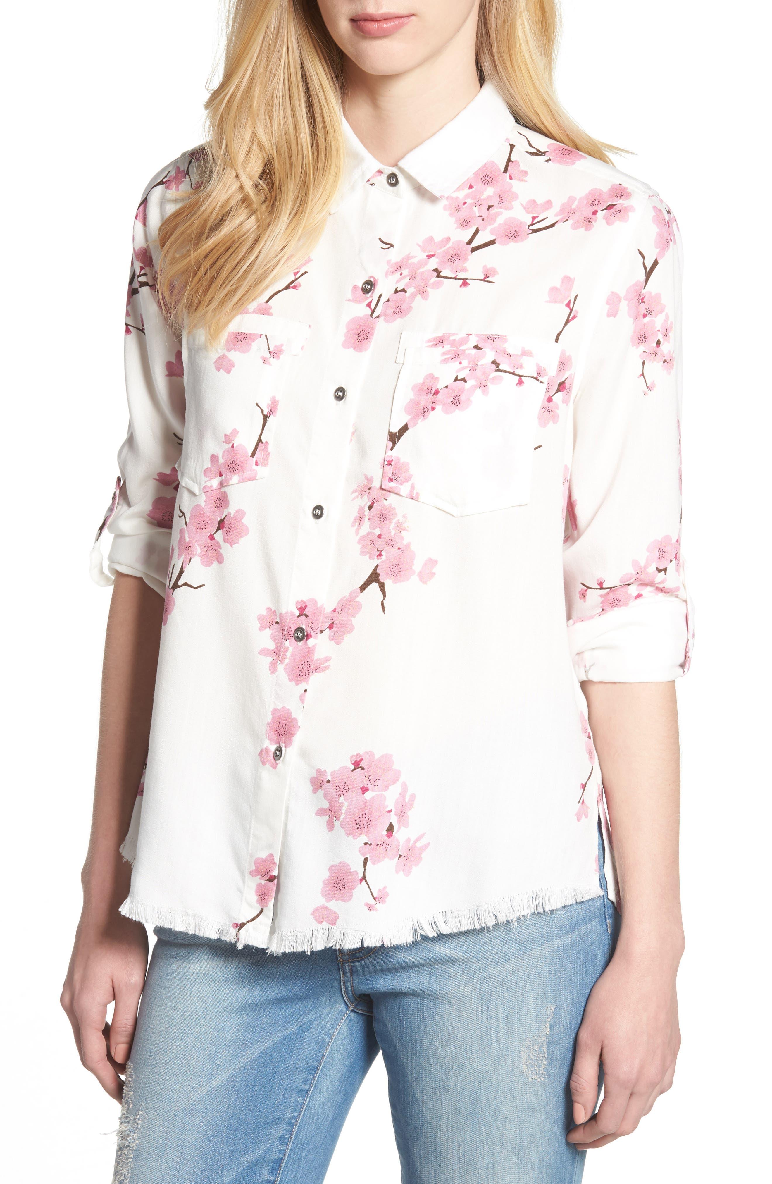 Cherry Blossom Roll Tab Sleeve Shirt,                         Main,                         color, White Cherry Blossom
