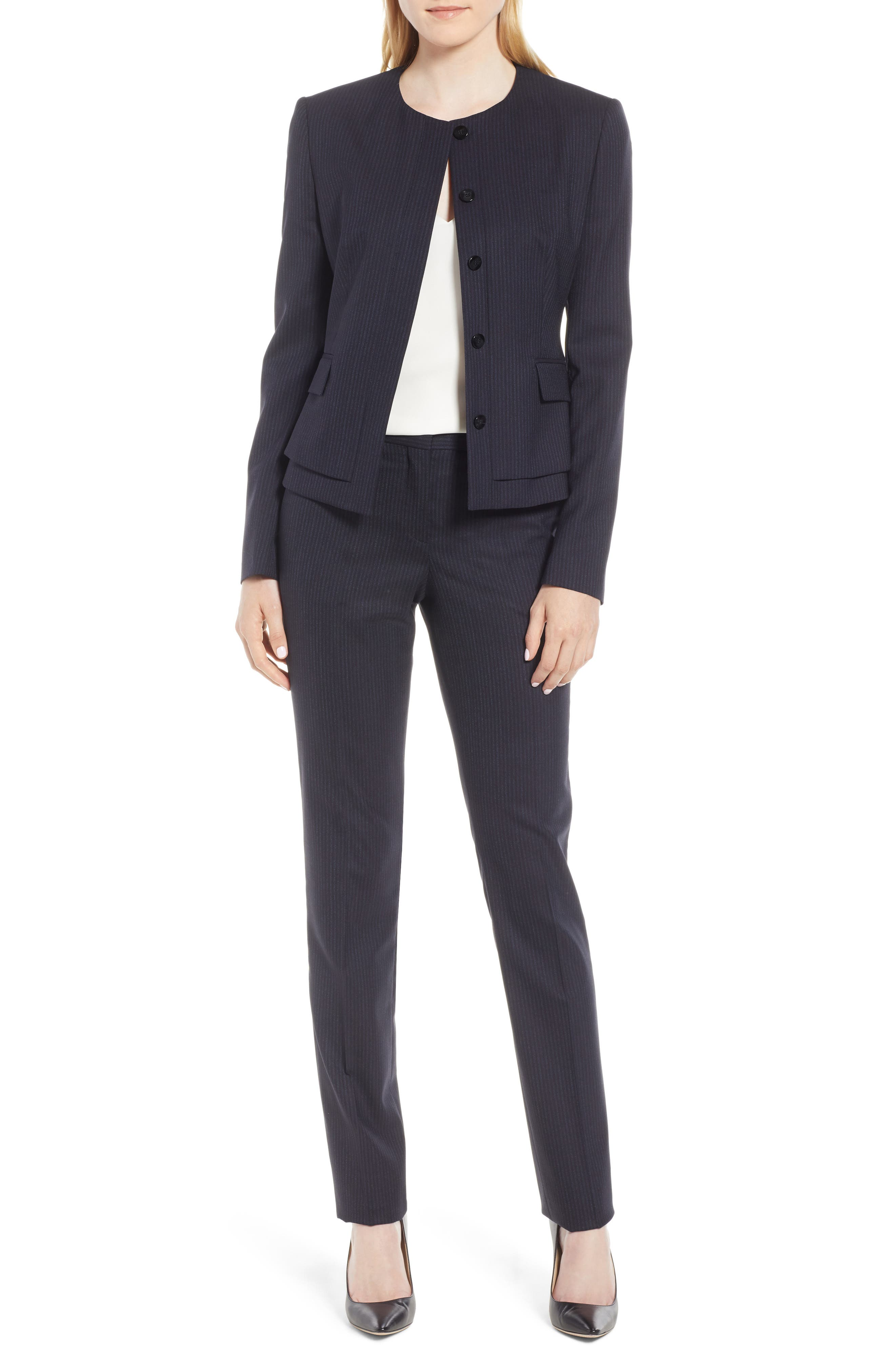 Jasyma Tonal Stripe Stretch Wool Suit Jacket,                             Alternate thumbnail 7, color,                             Navy Fantasy