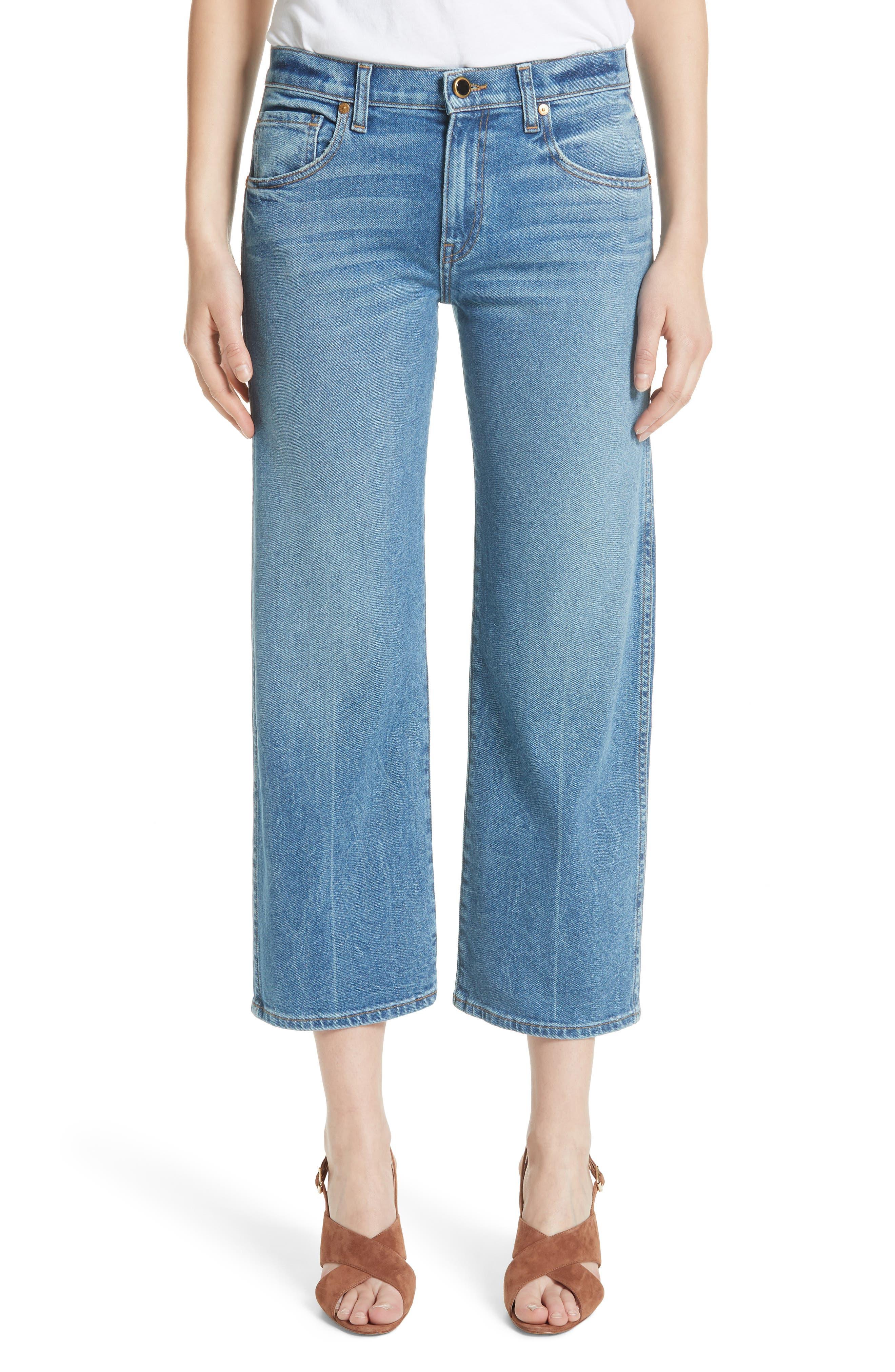 KHAITE Wendall Wide Leg Crop Jeans (Vintage Blue)