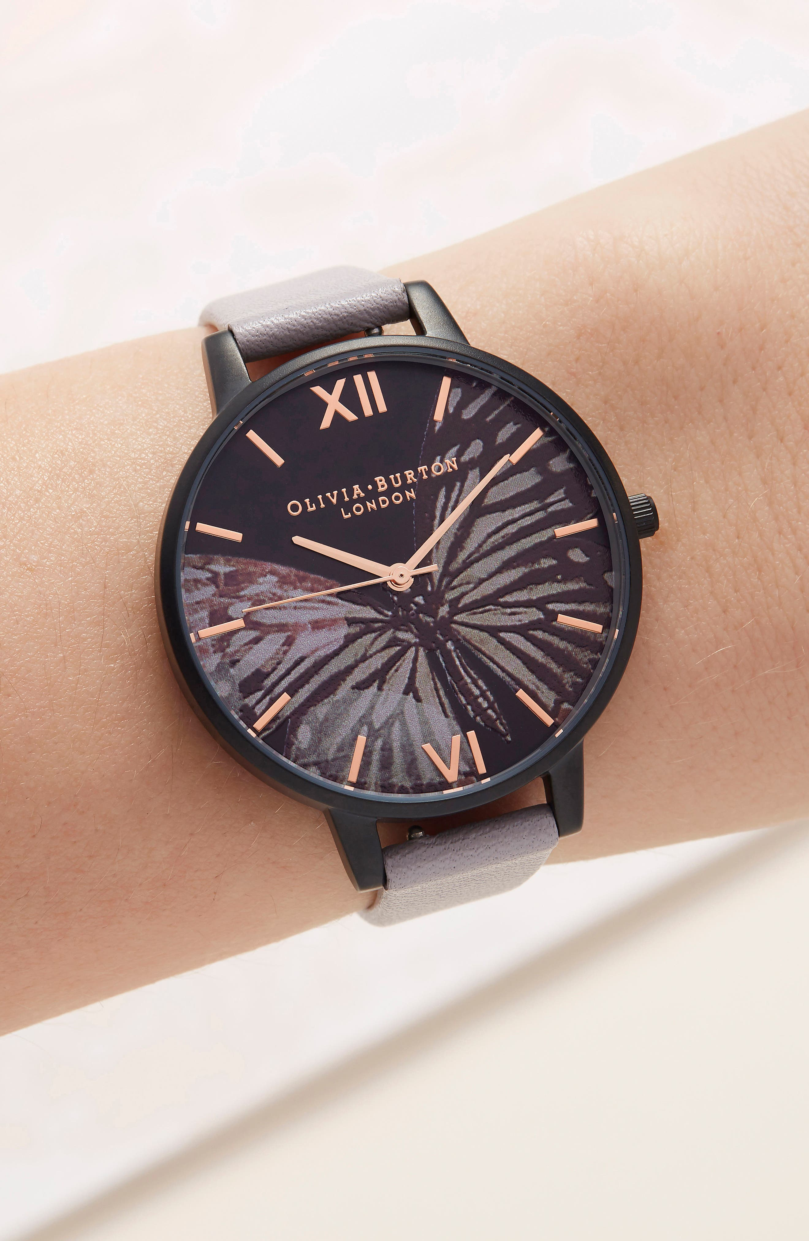 After Dark Butterfly Leather Strap Watch, 38mm,                             Alternate thumbnail 5, color,                             Grey/ Black/ White