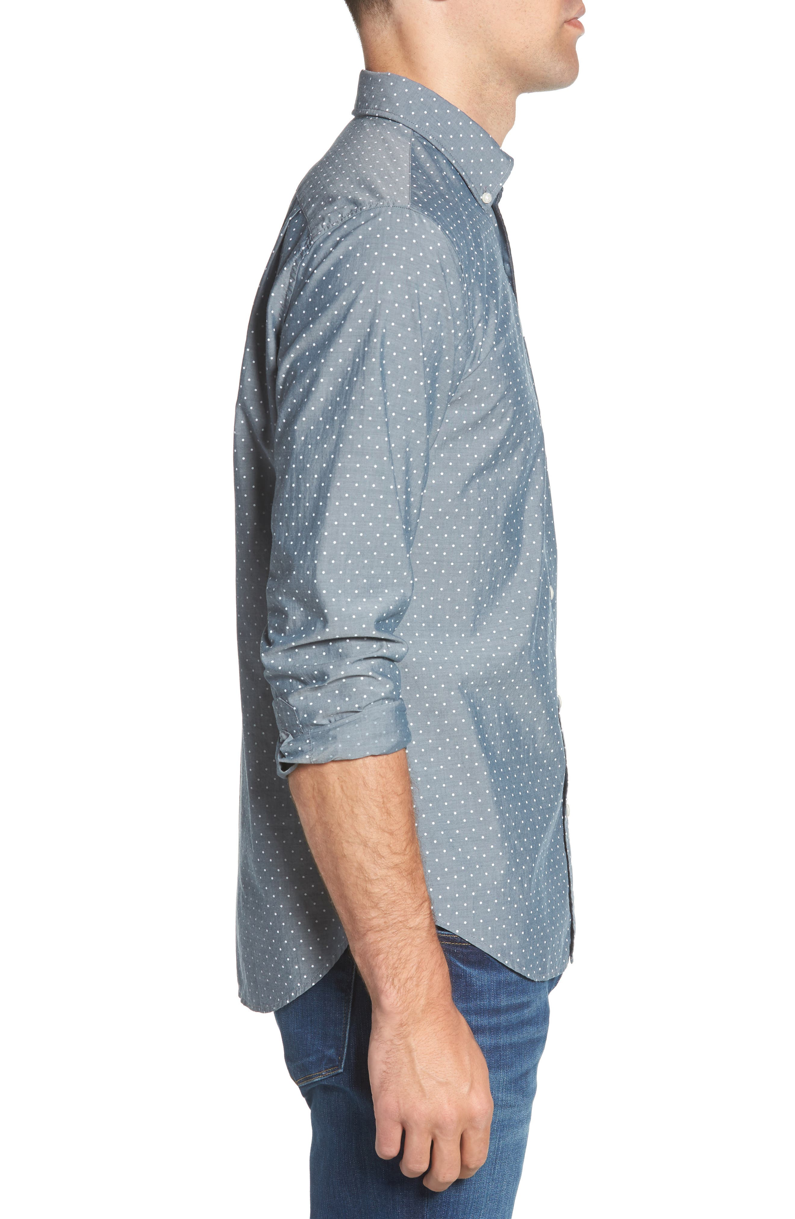 Summerweight Slim Fit Dot Sport Shirt,                             Alternate thumbnail 5, color,                             Salt Pond Dot - Lakefront