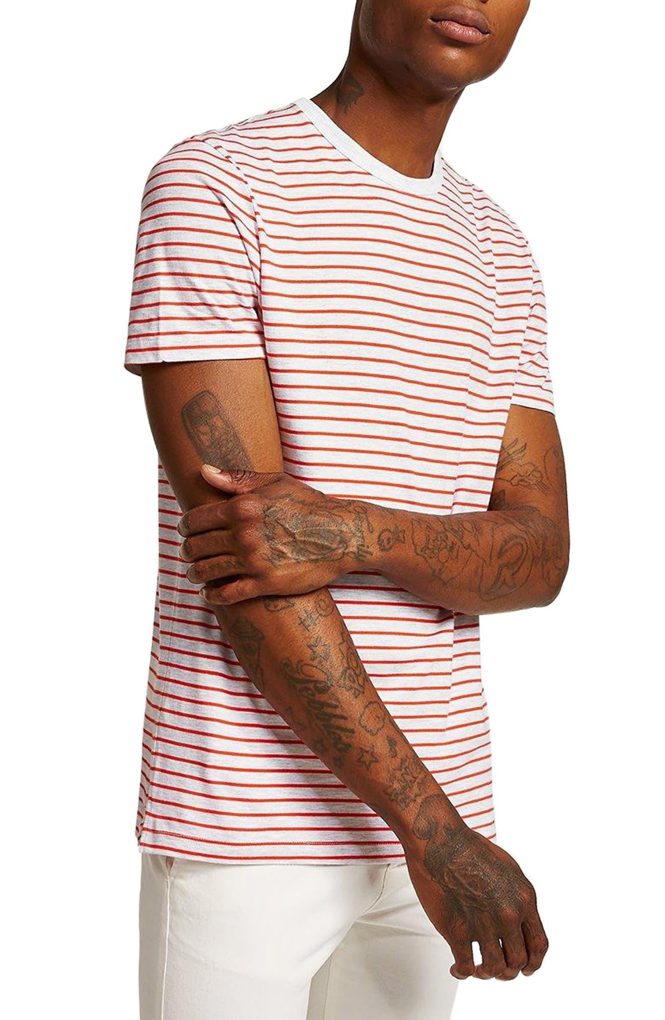 Stripe T-Shirt,                         Main,                         color, Orange Multi
