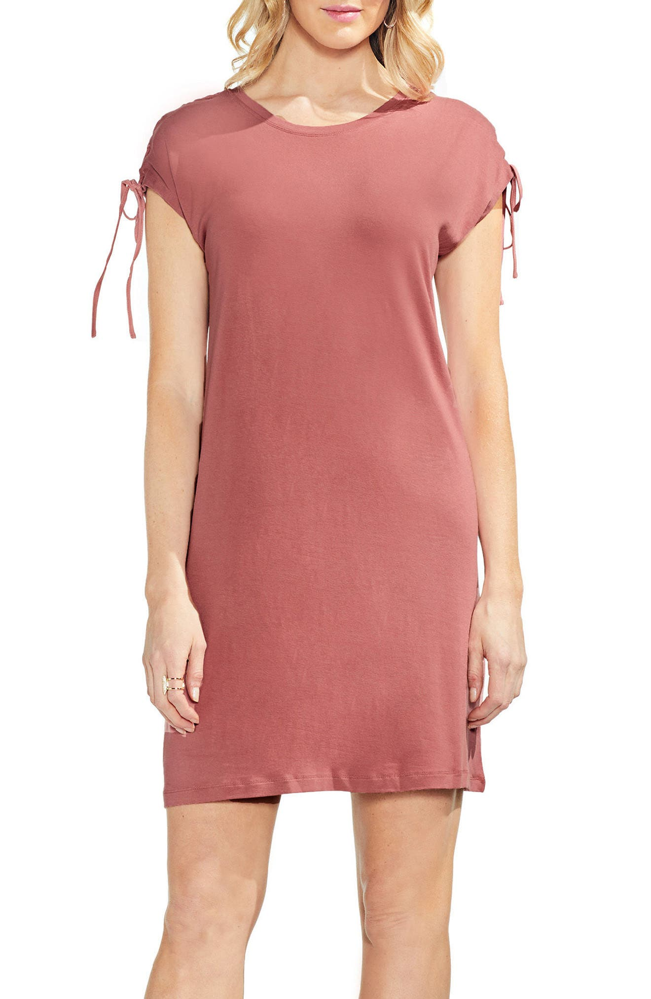 Lace-Up Shoulder Dress,                             Alternate thumbnail 3, color,                             Claret Shadow