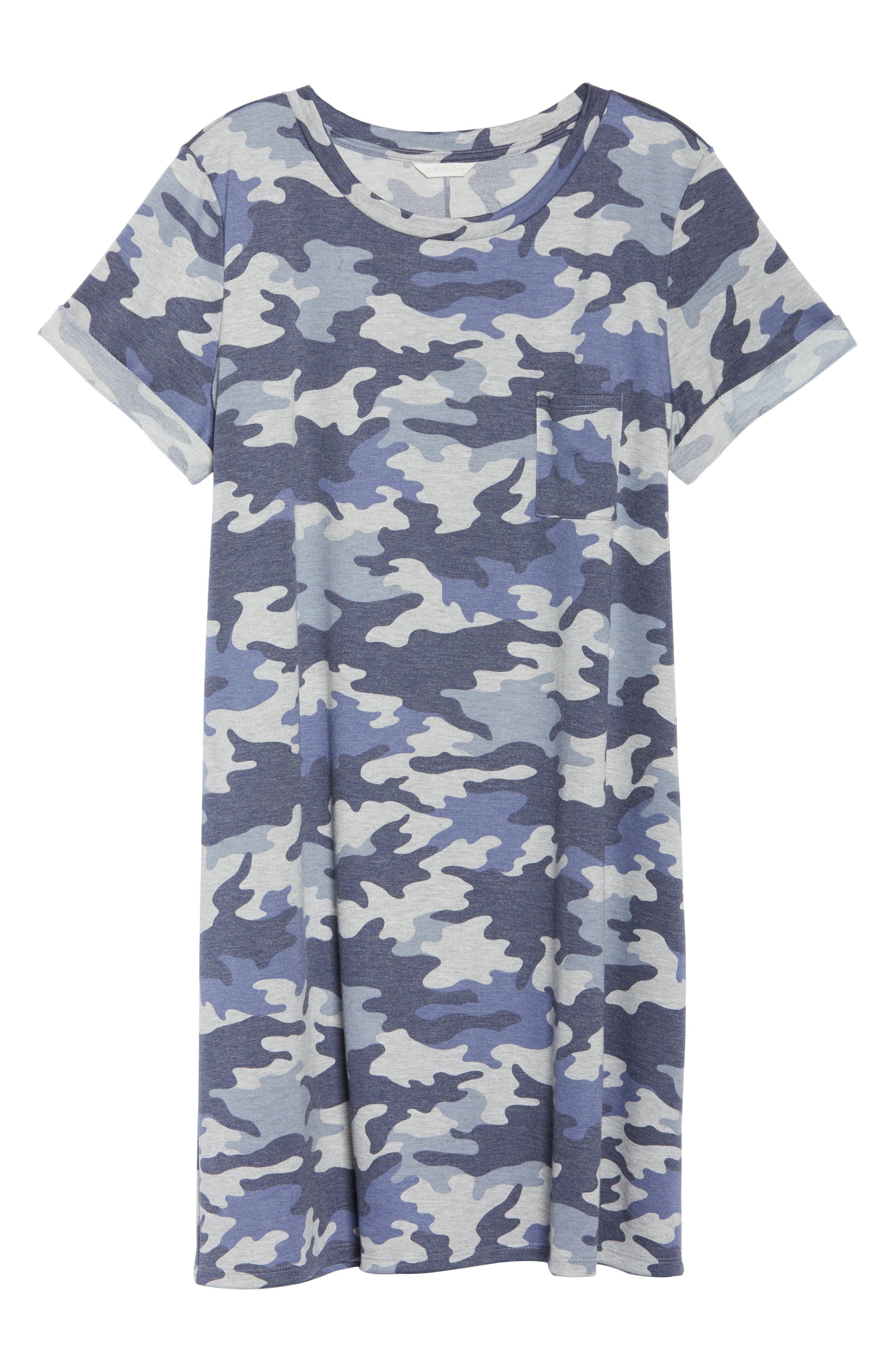 Camo T-Shirt Dress,                             Alternate thumbnail 7, color,                             Blue Camo