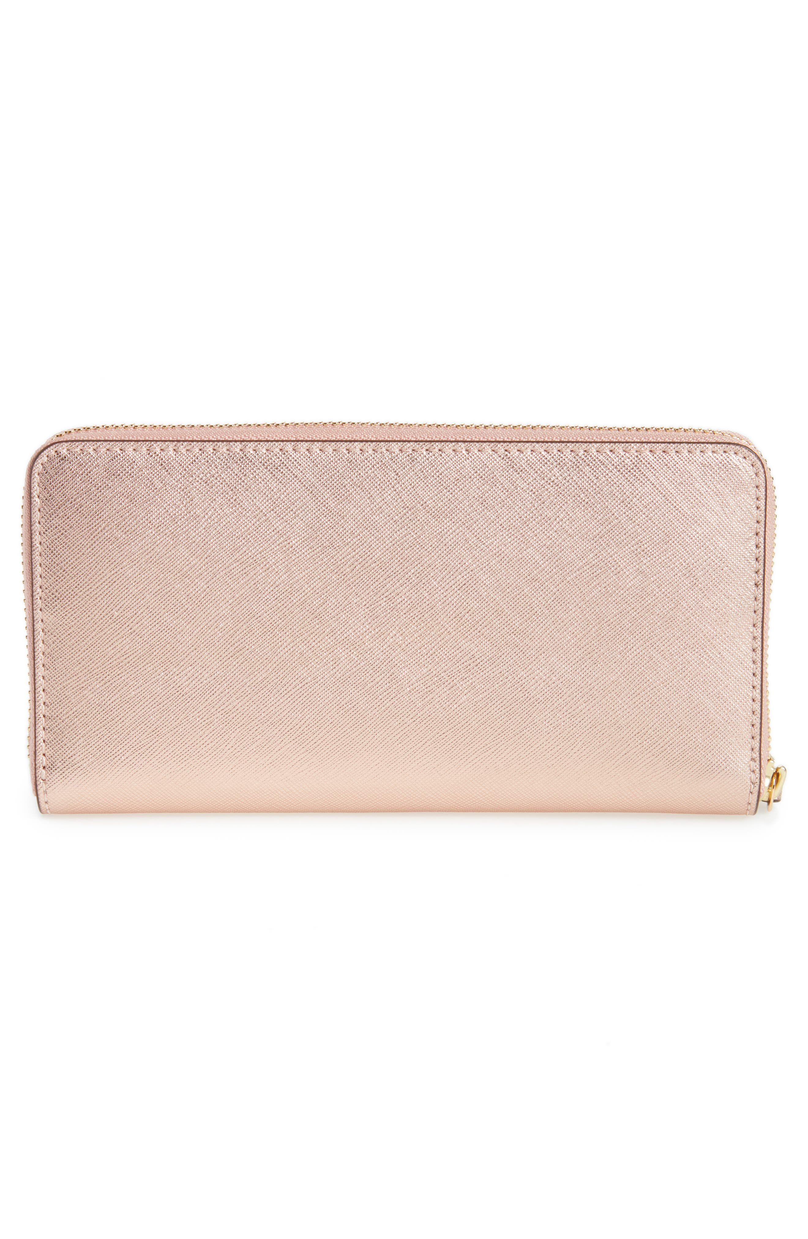 Robinson Metallic Leather Continental Wallet,                             Alternate thumbnail 3, color,                             Light Rose Gold