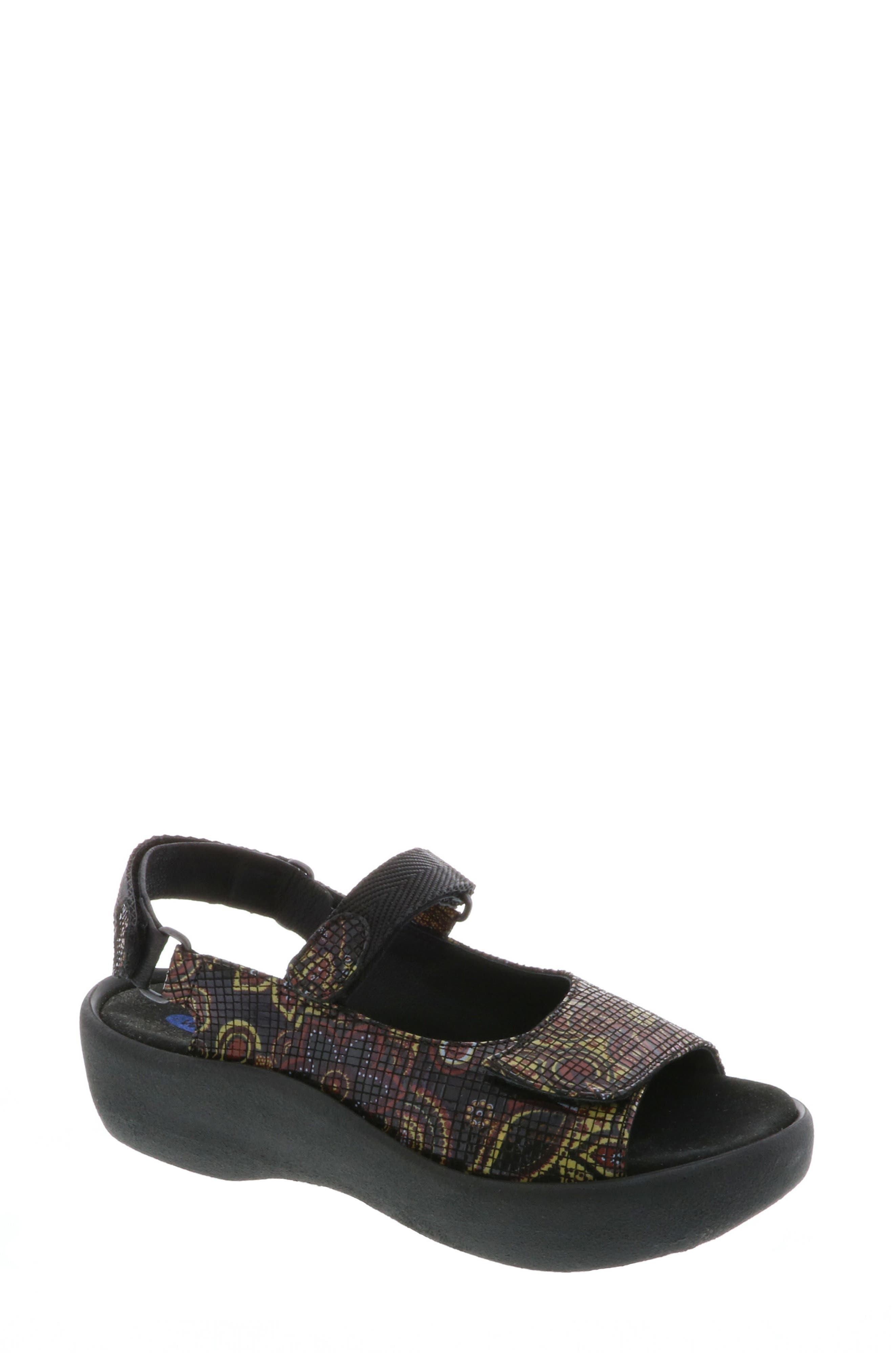 Jewel Sport Sandal,                             Main thumbnail 1, color,                             Black Flower Print