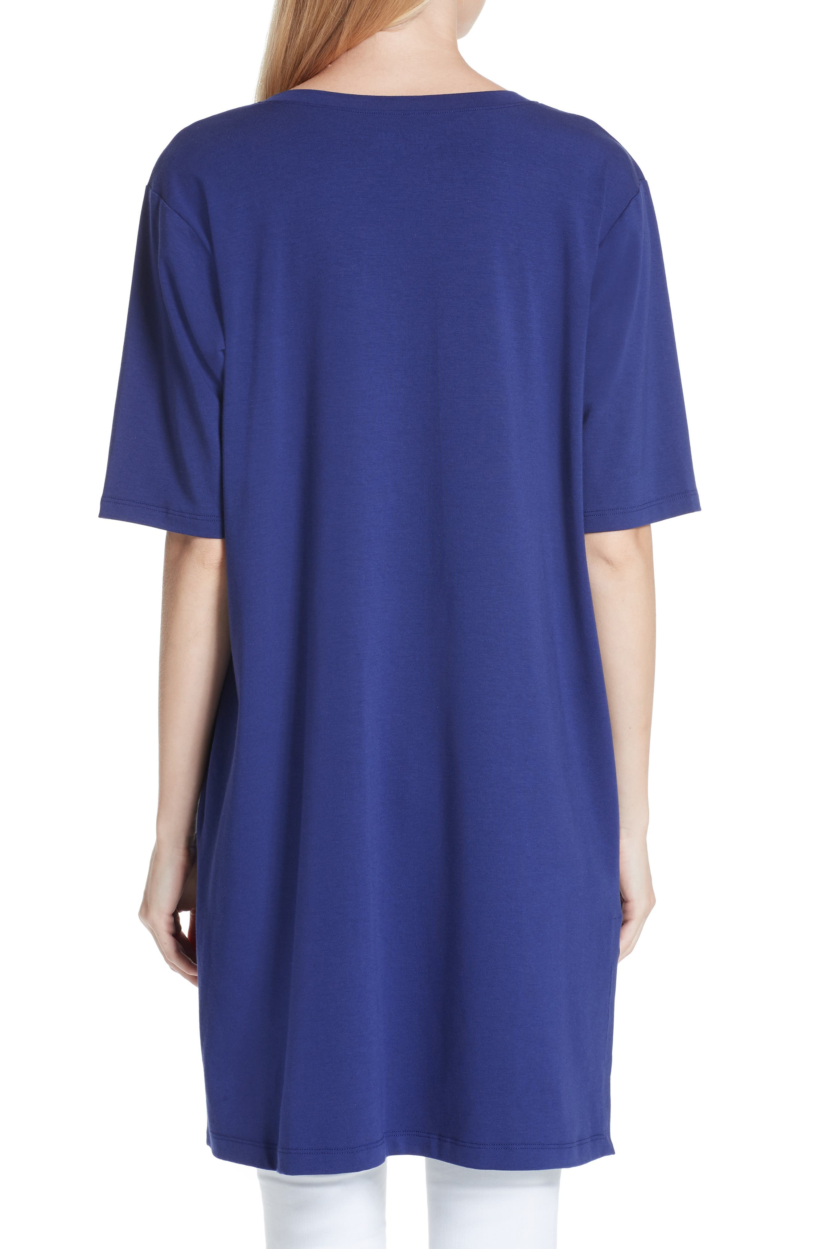 Stretch Organic Cotton Jersey Tunic,                             Alternate thumbnail 2, color,                             Sapphire