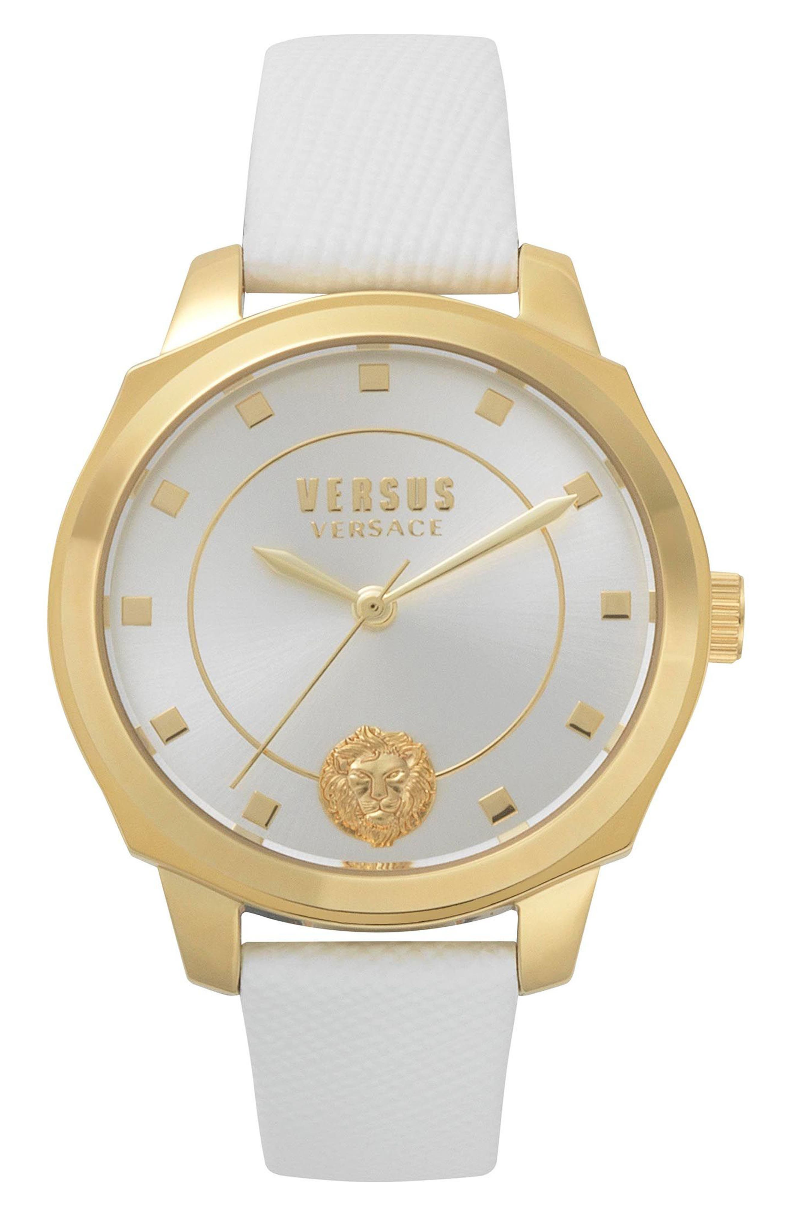 VERSUS by Versace Chelsea Leather Strap Watch, 34mm,                         Main,                         color, White/ Silver/ Gold