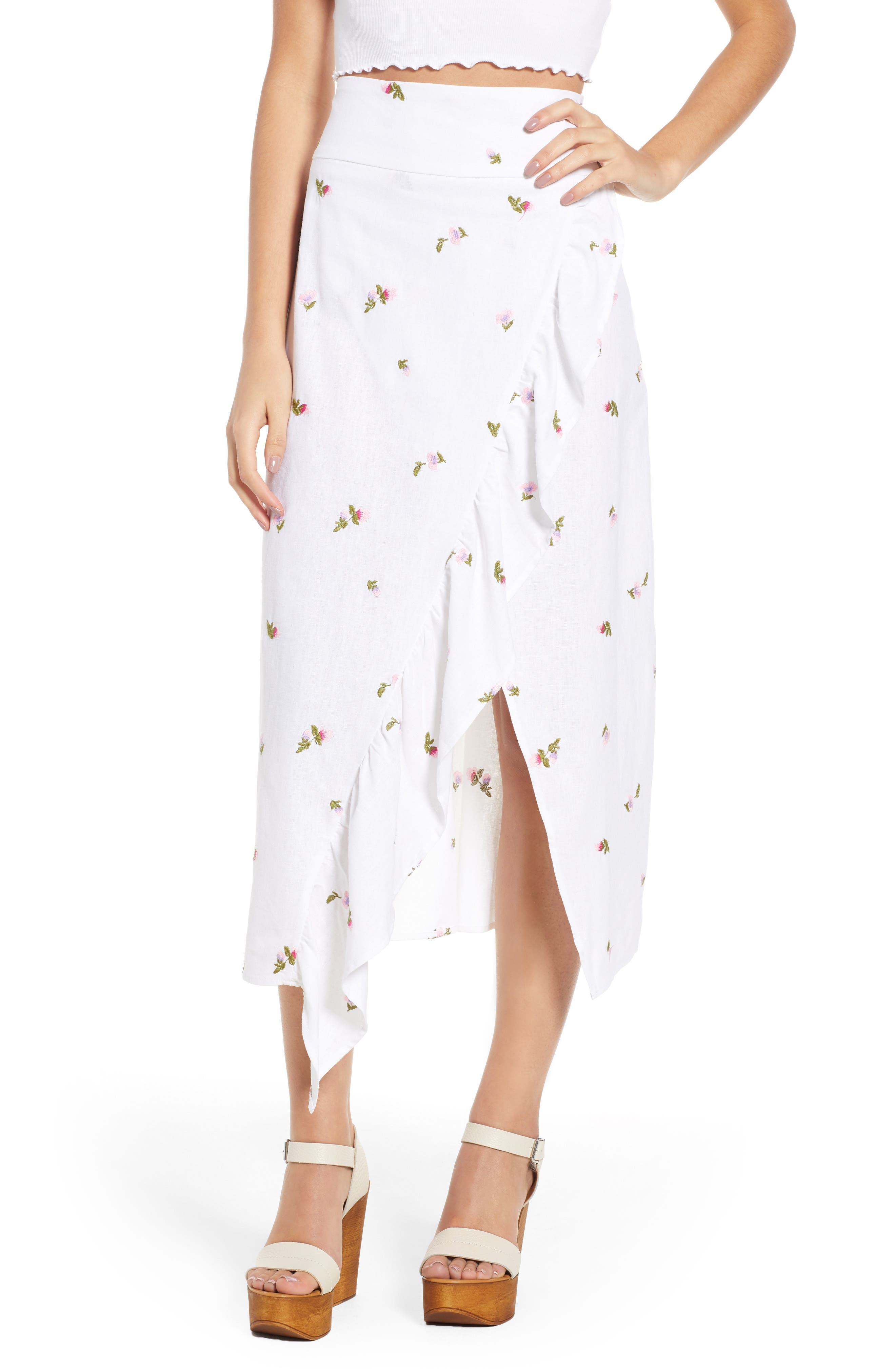 Sunset Midi Skirt,                         Main,                         color, Ditsy Embroidery