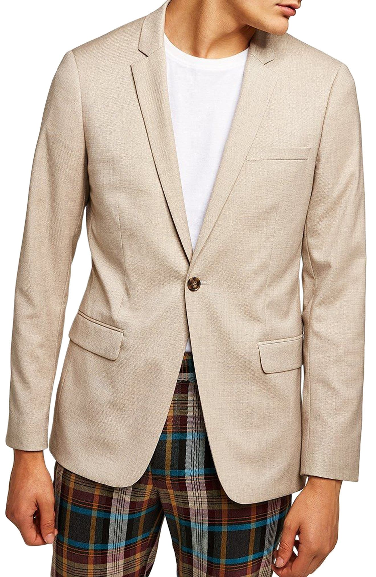 Skinny Fit Check Suit Jacket,                         Main,                         color, Stone