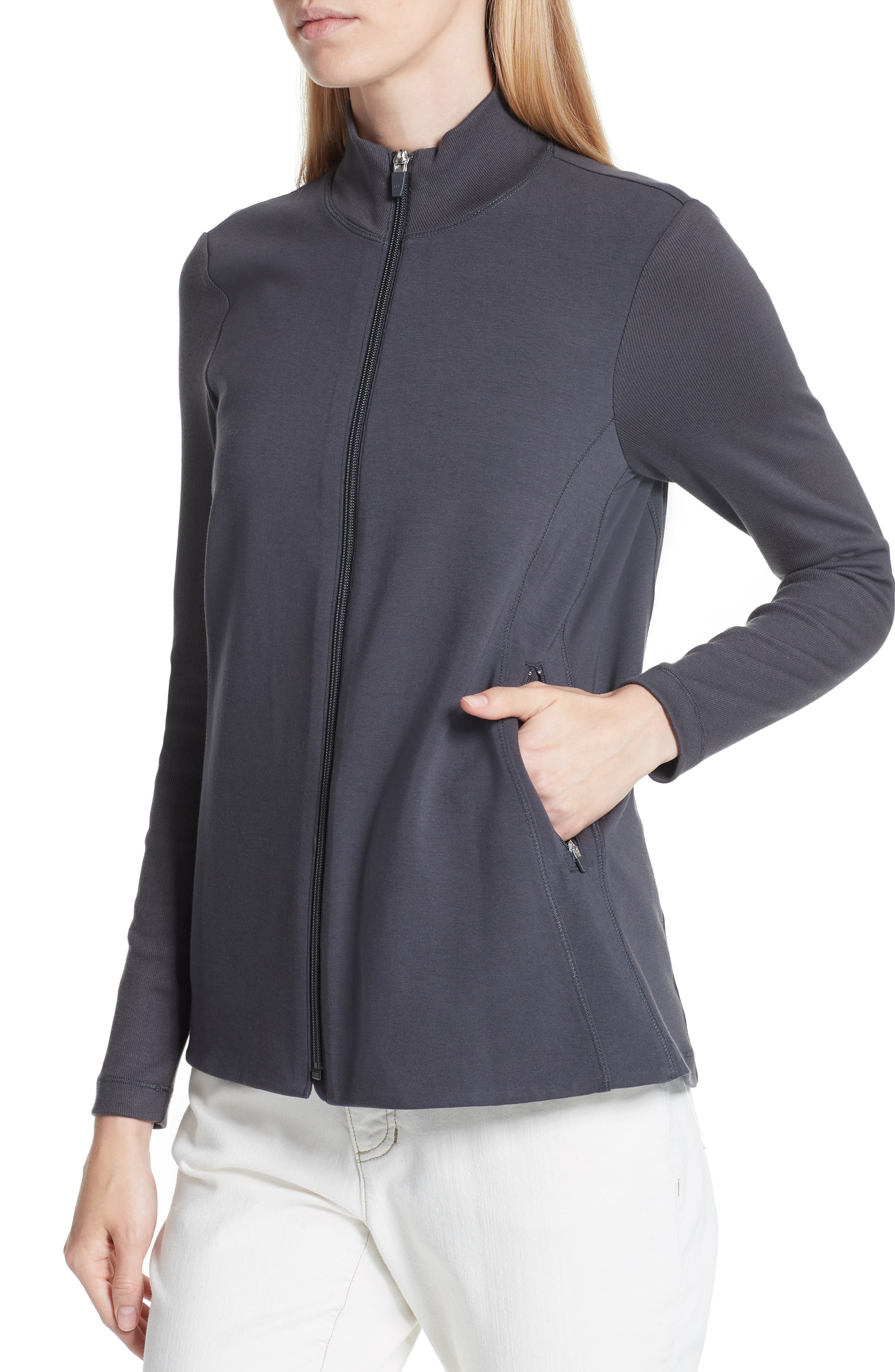 Mixed Organic Cotton Stretch Knit Jacket,                             Alternate thumbnail 4, color,                             Graphite