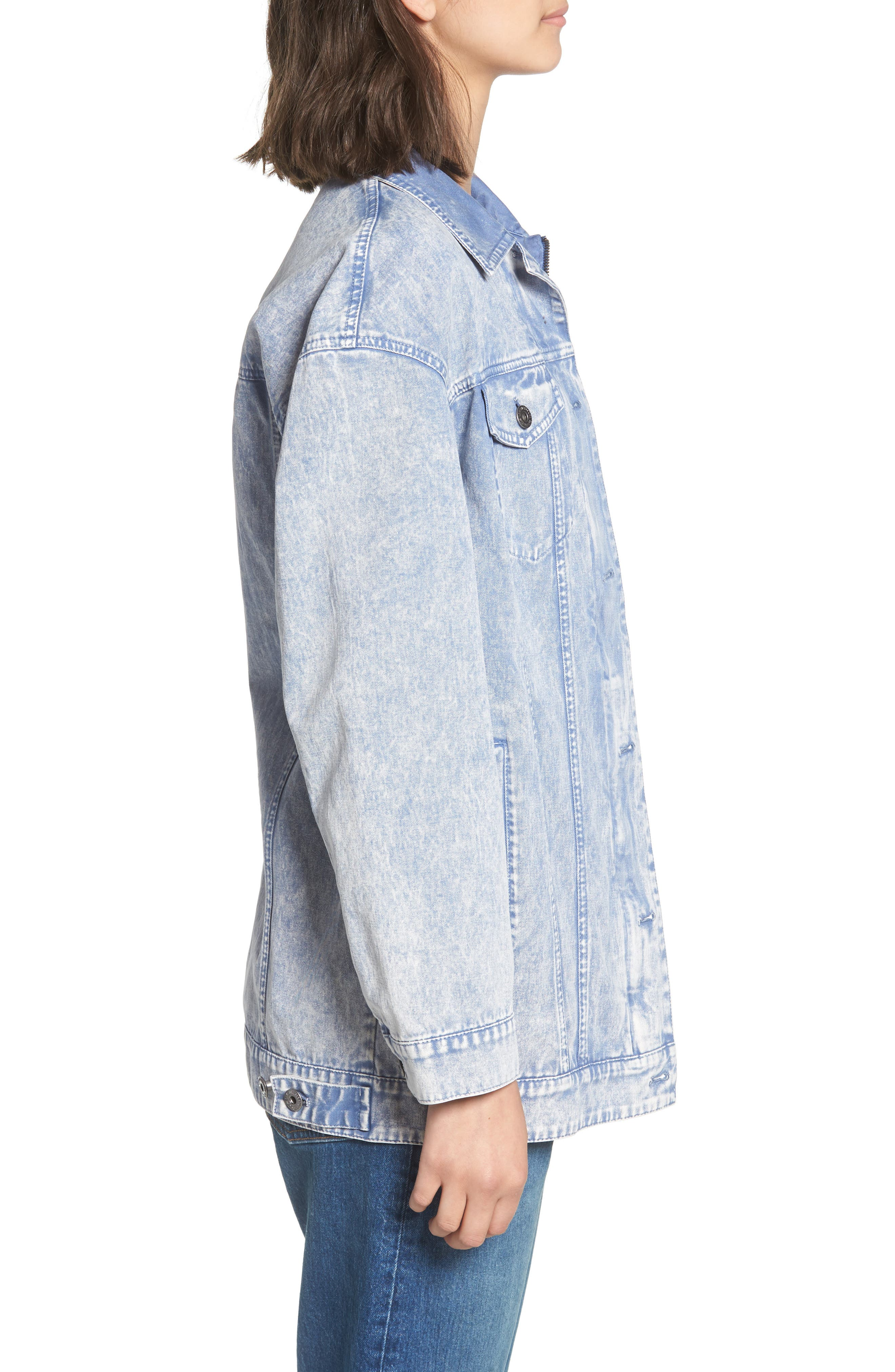 Oversize Cotton Canvas Trucker Jacket,                             Alternate thumbnail 3, color,                             Pacific Blue