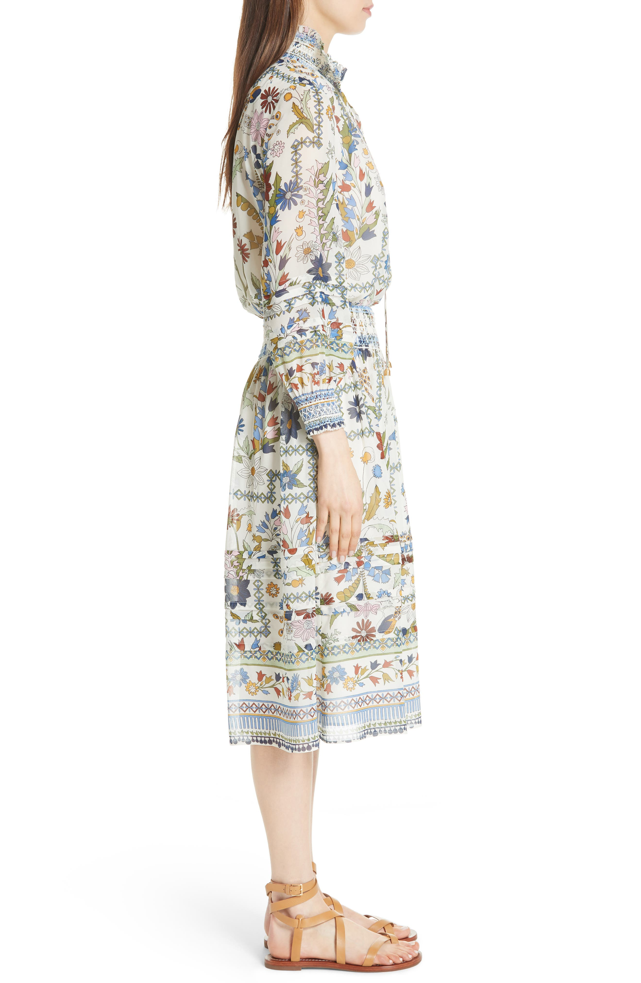 Waverly Floral Print Silk Midi Dress,                             Alternate thumbnail 5, color,                             Ivory Meadow Folly