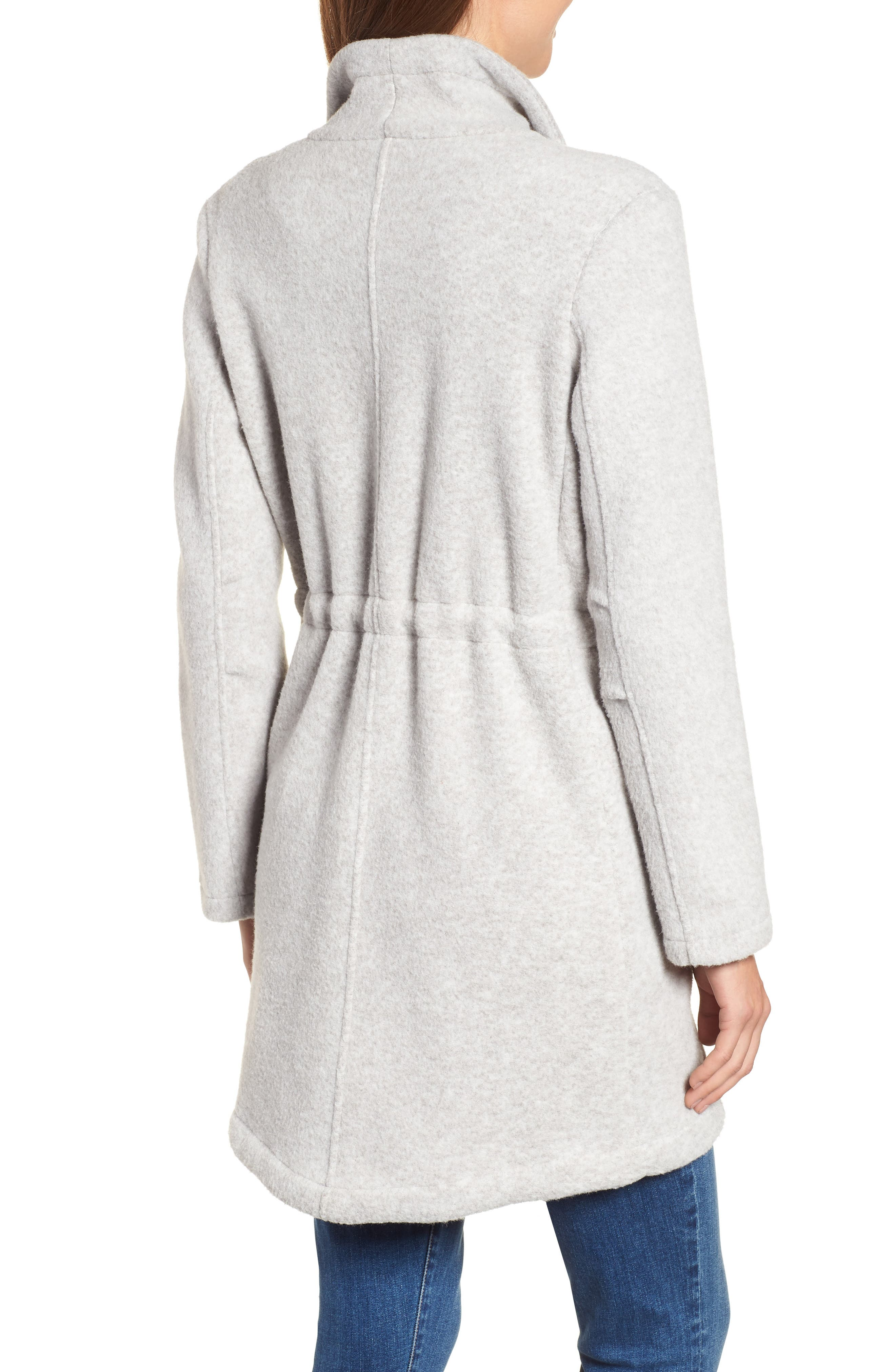 Maggie Brushed Fleece Drape Collar Coat,                             Alternate thumbnail 2, color,                             Light Heather Grey