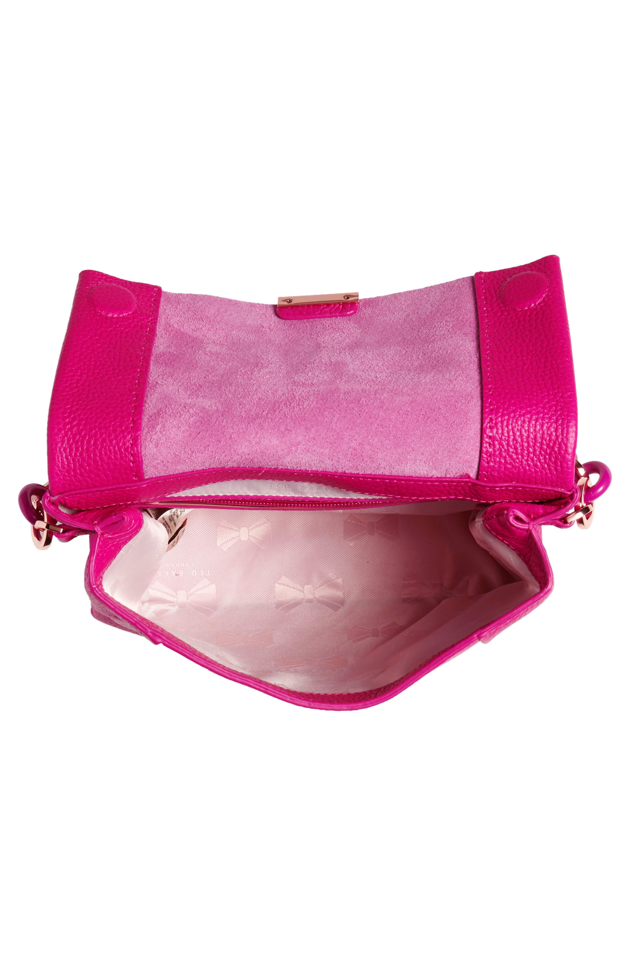 Ipomoea Leather Shoulder Bag,                             Alternate thumbnail 4, color,                             Fuchsia