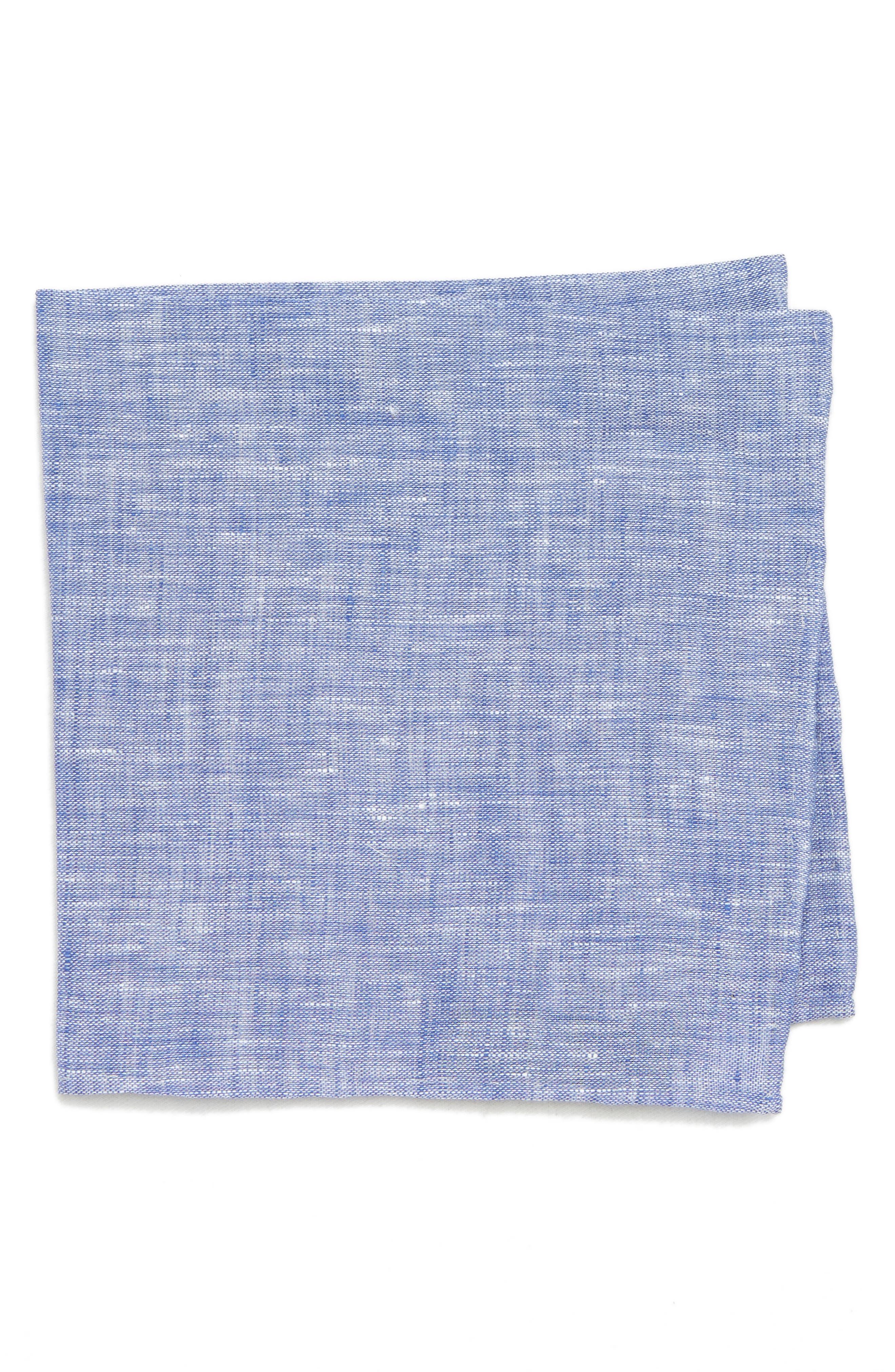 South End Linen Pocket Square,                             Main thumbnail 1, color,                             Blue