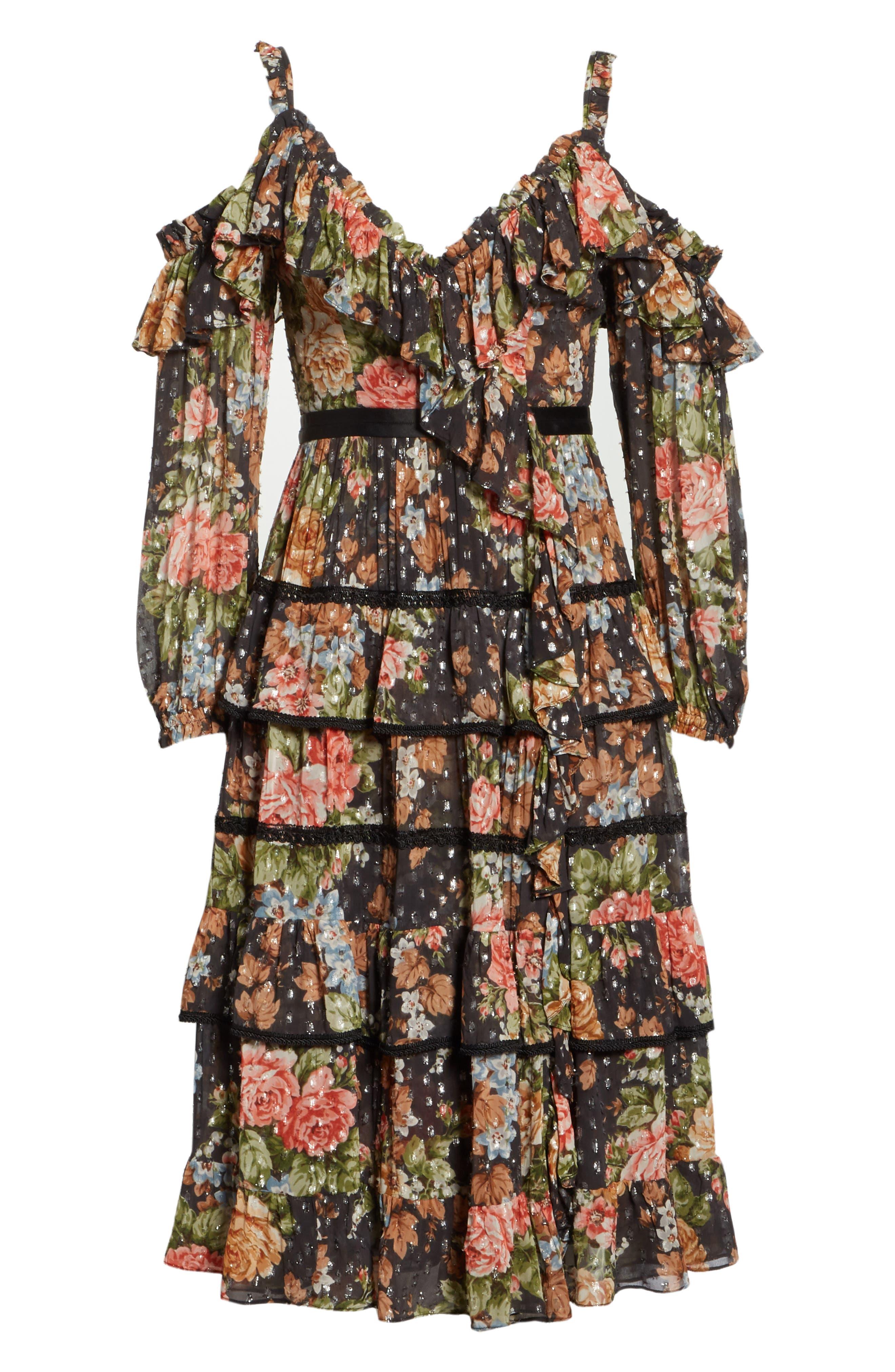 Paradise Rose Shimmer Dress,                             Alternate thumbnail 6, color,                             Graphite