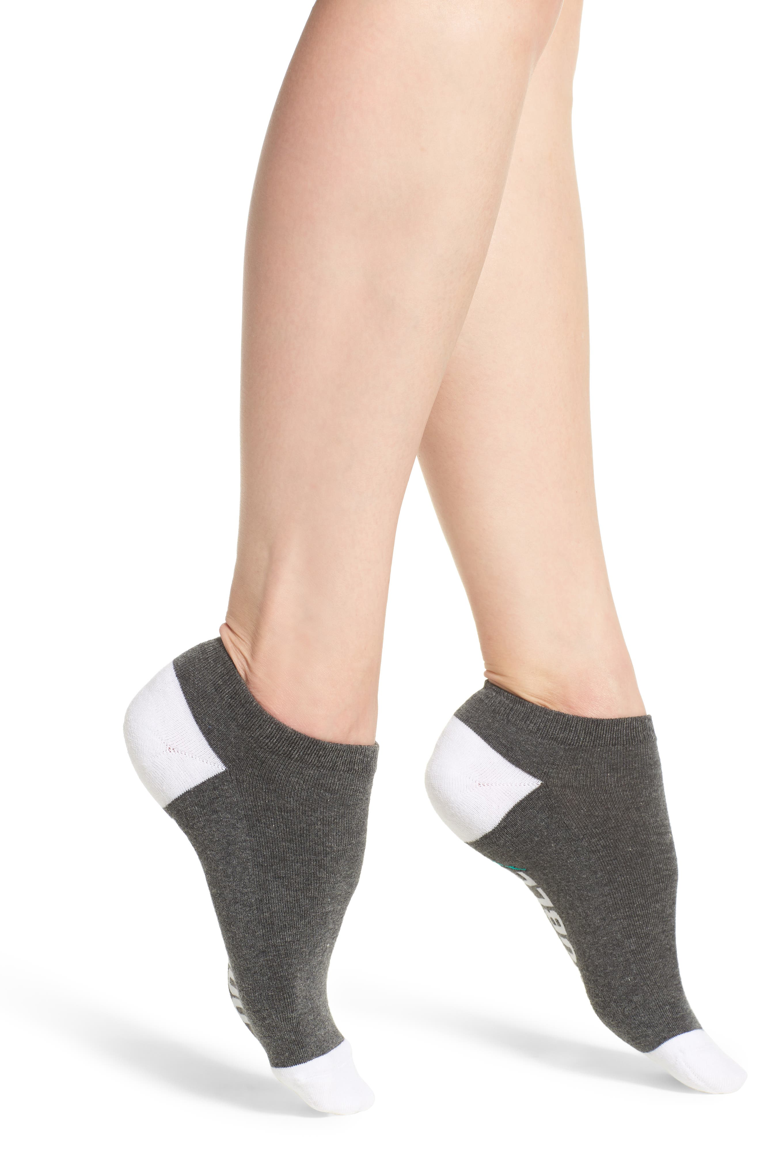 Lookin' For Trouble Low-Cut Socks,                             Main thumbnail 1, color,                             Charcoal Heather