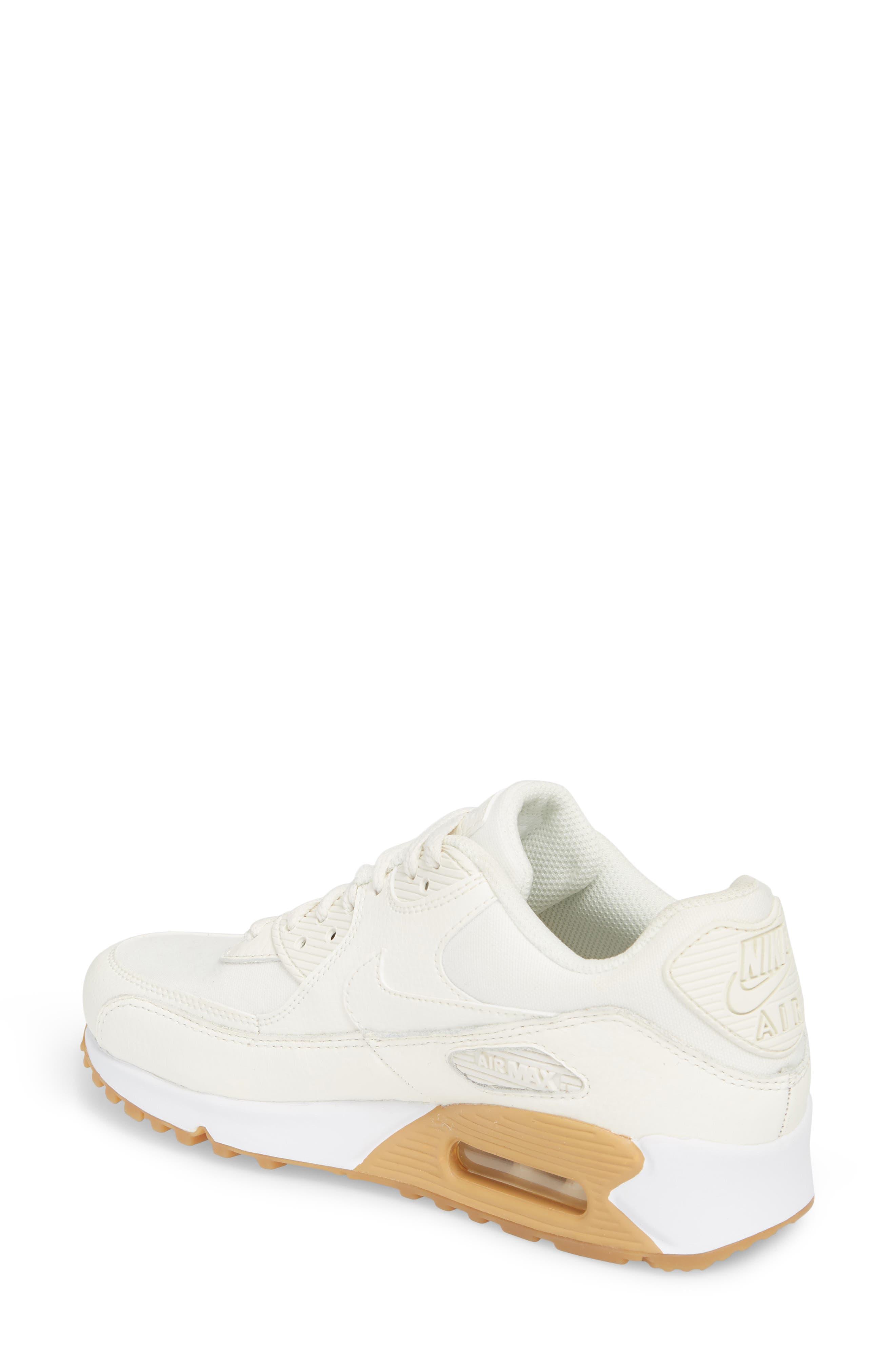 Air Max 90 Premium Sneaker,                             Alternate thumbnail 2, color,                             Sail/ Light Brown/ White