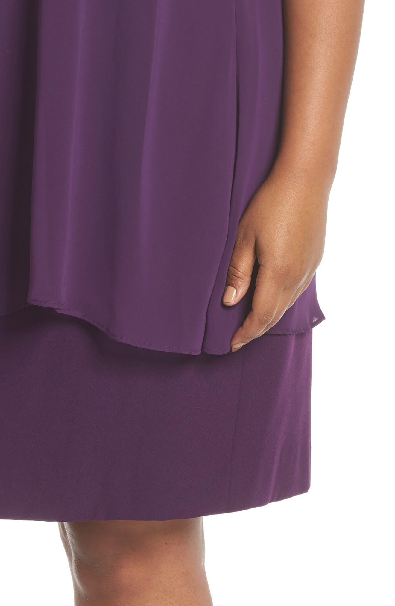 Chiffon Overlay Sheath Dress,                             Alternate thumbnail 4, color,                             Plum
